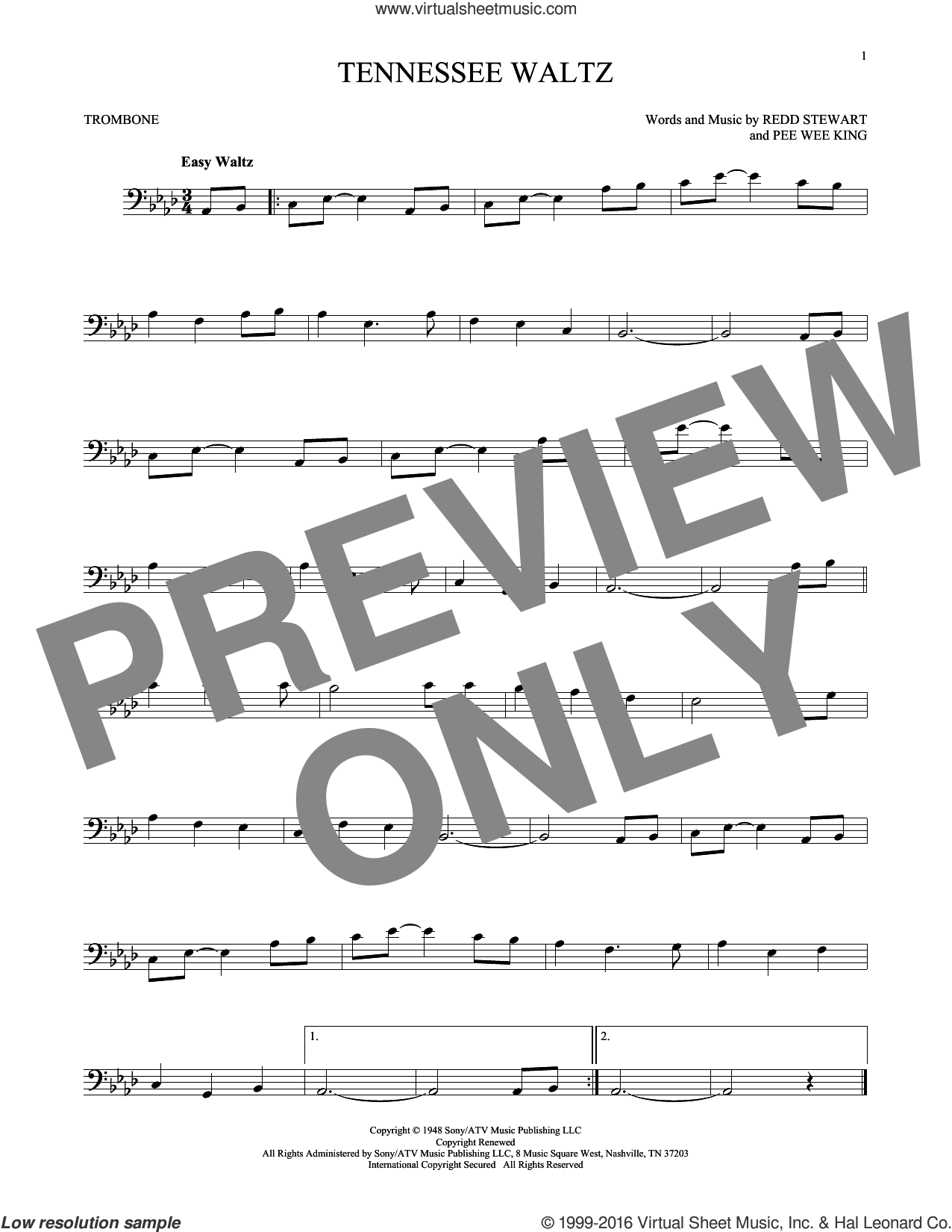 Tennessee Waltz sheet music for trombone solo by Pee Wee King, Patti Page, Patty Page and Redd Stewart, intermediate skill level