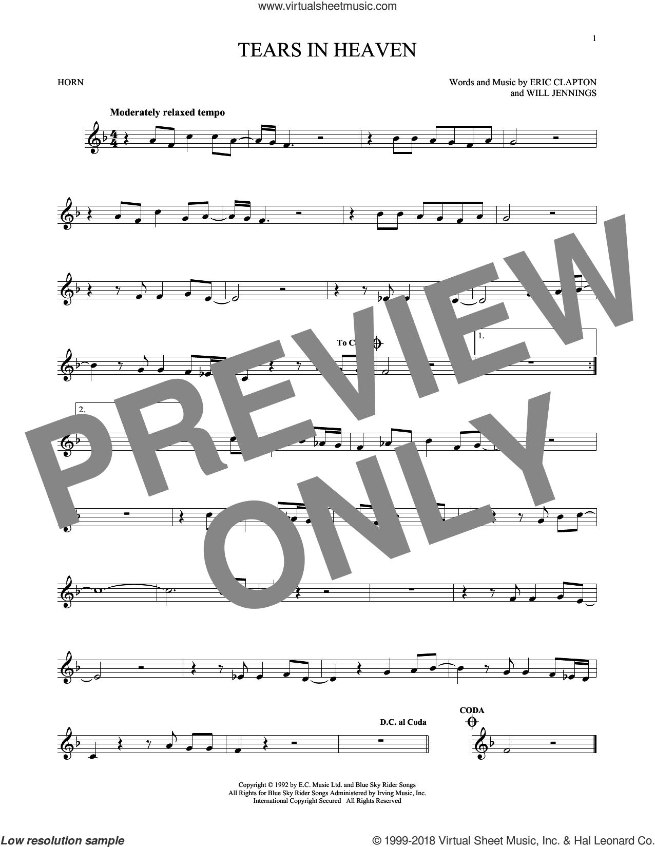 Tears In Heaven sheet music for horn solo by Eric Clapton and Will Jennings, intermediate skill level