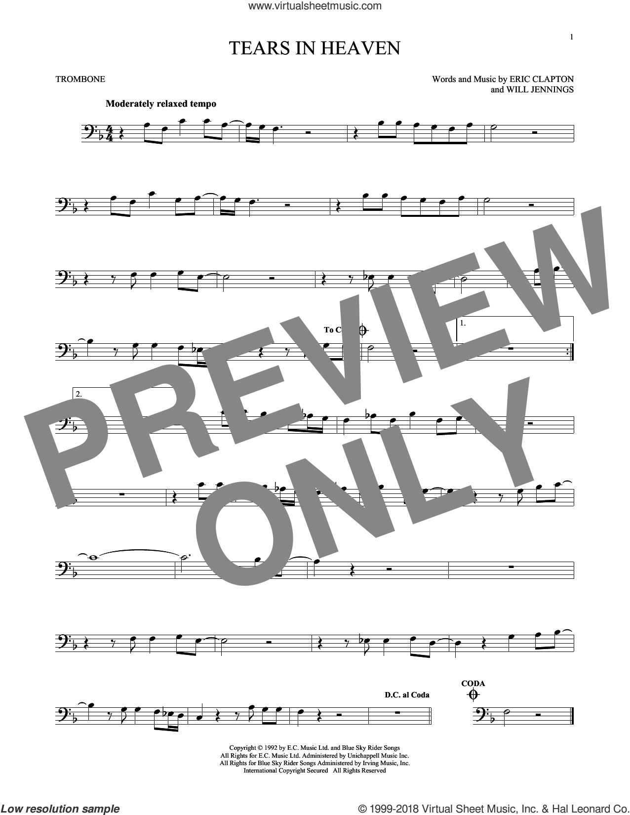 Tears In Heaven sheet music for trombone solo by Eric Clapton and Will Jennings, intermediate skill level