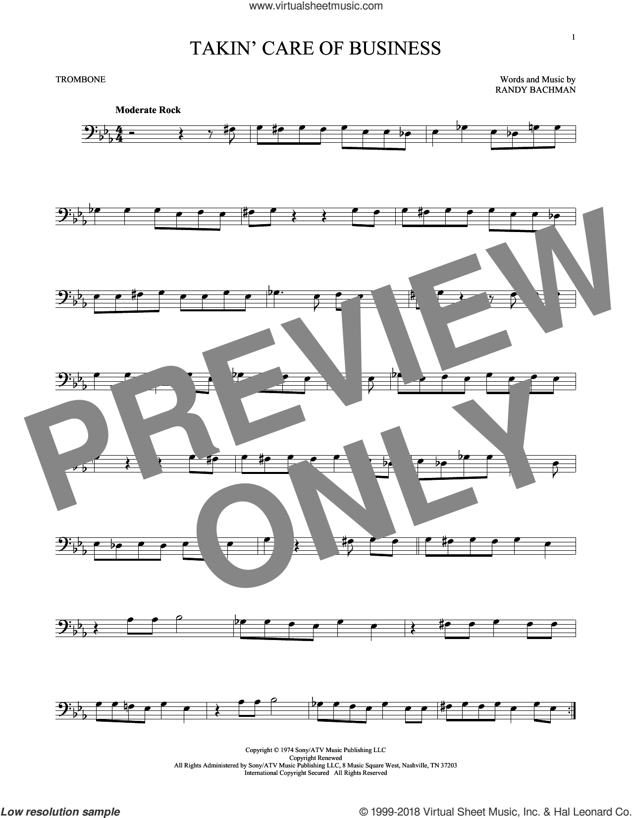 Takin' Care Of Business sheet music for trombone solo by Bachman-Turner Overdrive and Randy Bachman, intermediate skill level