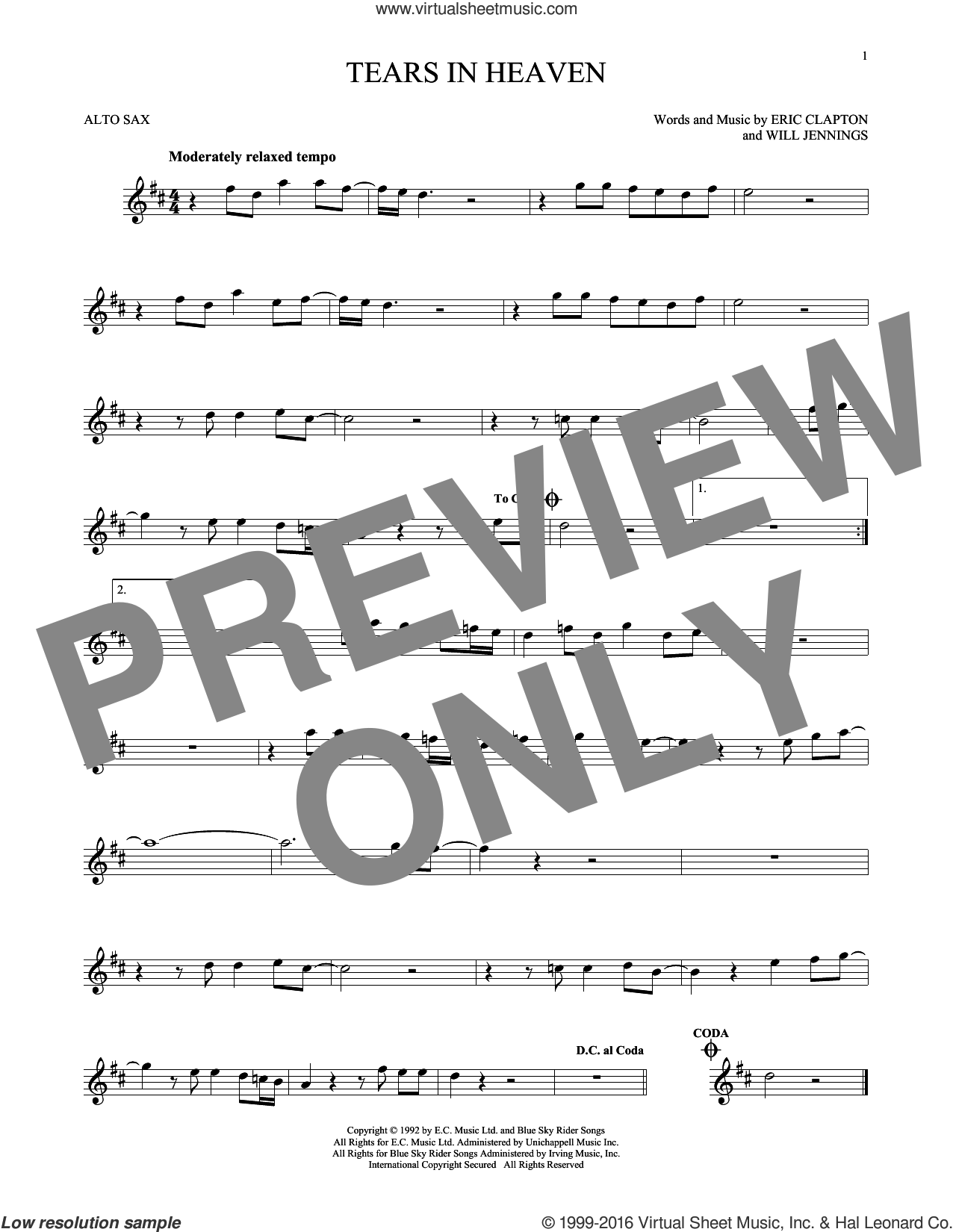 Tears In Heaven sheet music for alto saxophone solo by Will Jennings and Eric Clapton. Score Image Preview.
