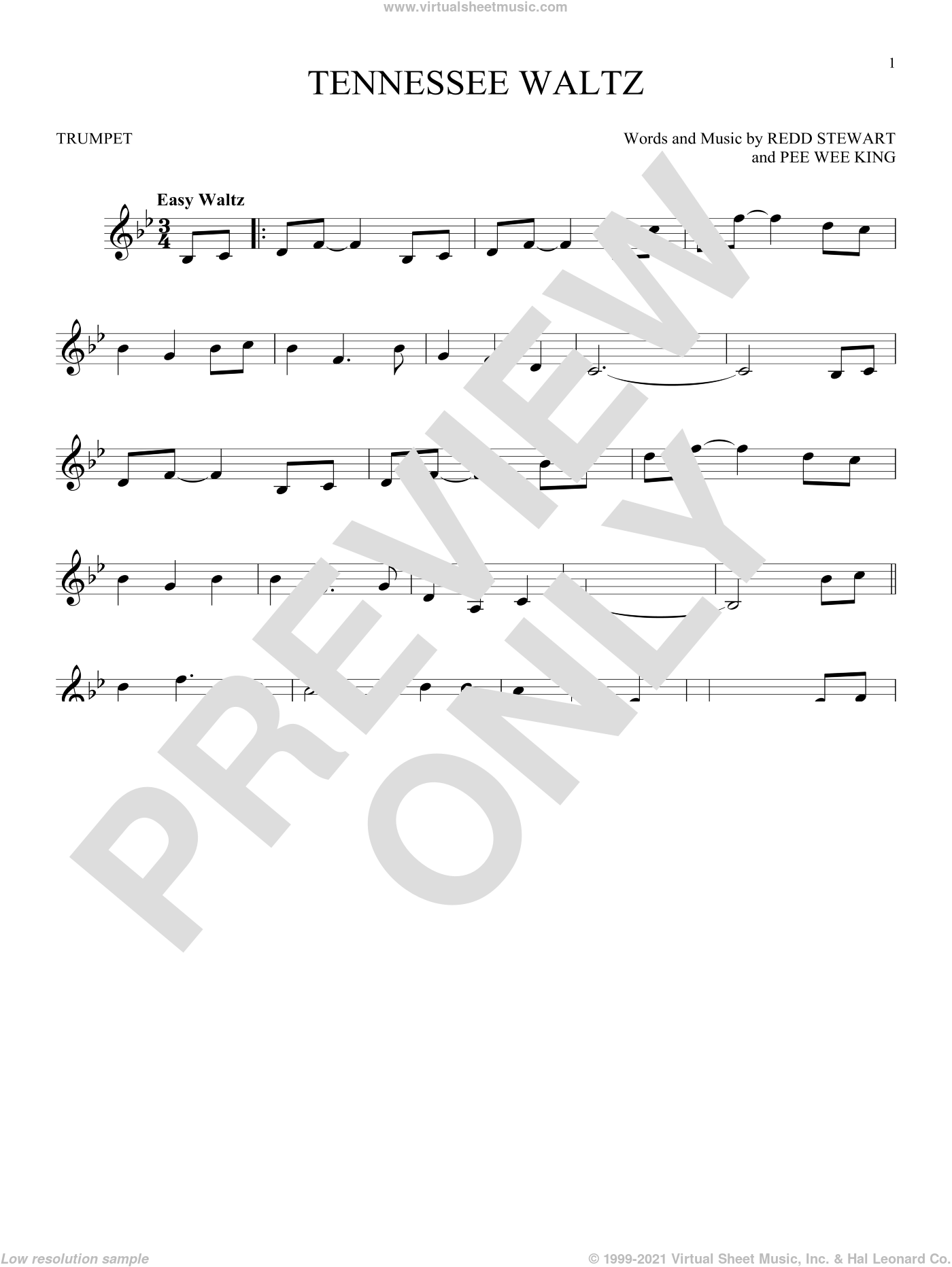 Tennessee Waltz sheet music for trumpet solo by Pee Wee King, Patti Page, Patty Page and Redd Stewart, intermediate skill level