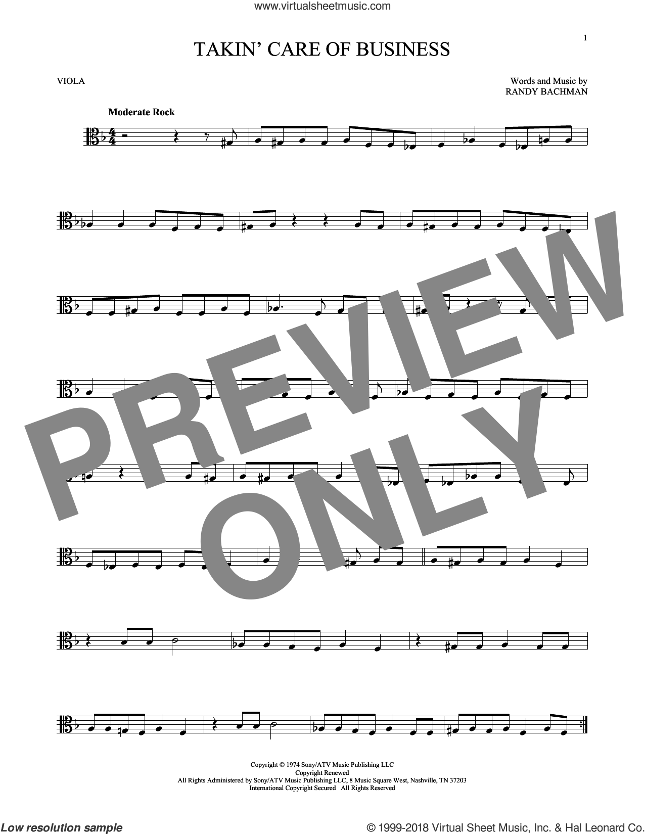 Takin' Care Of Business sheet music for viola solo by Bachman-Turner Overdrive and Randy Bachman, intermediate skill level