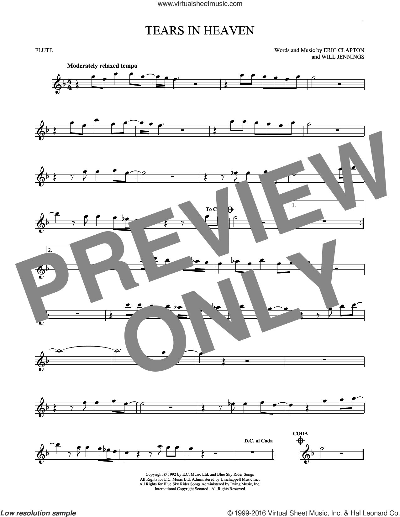 Tears In Heaven sheet music for flute solo by Will Jennings and Eric Clapton. Score Image Preview.