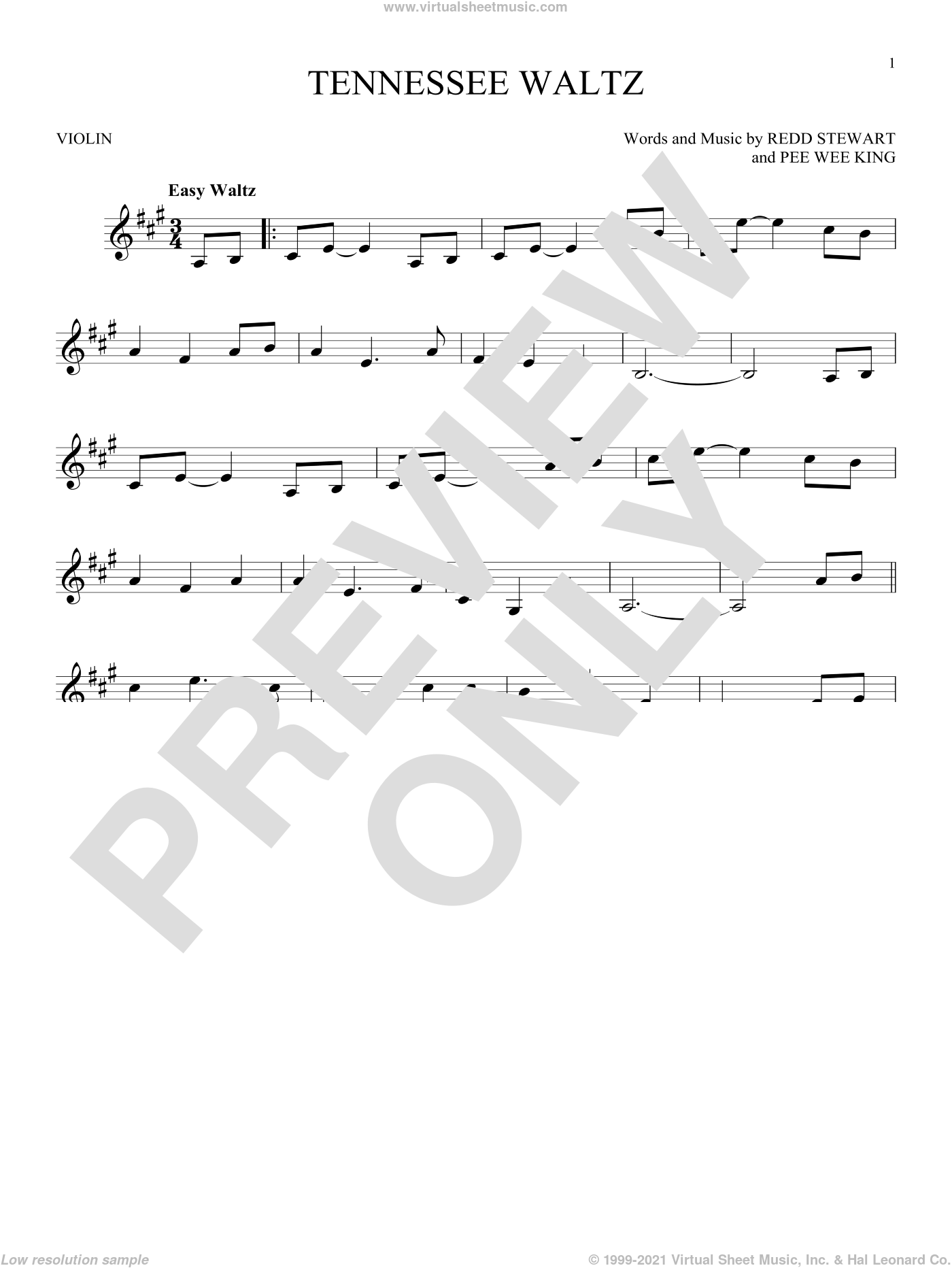 Tennessee Waltz sheet music for violin solo by Redd Stewart and Patti Page. Score Image Preview.