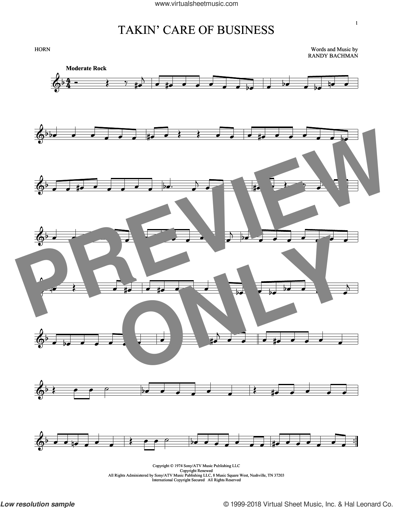 Takin' Care Of Business sheet music for horn solo by Randy Bachman. Score Image Preview.