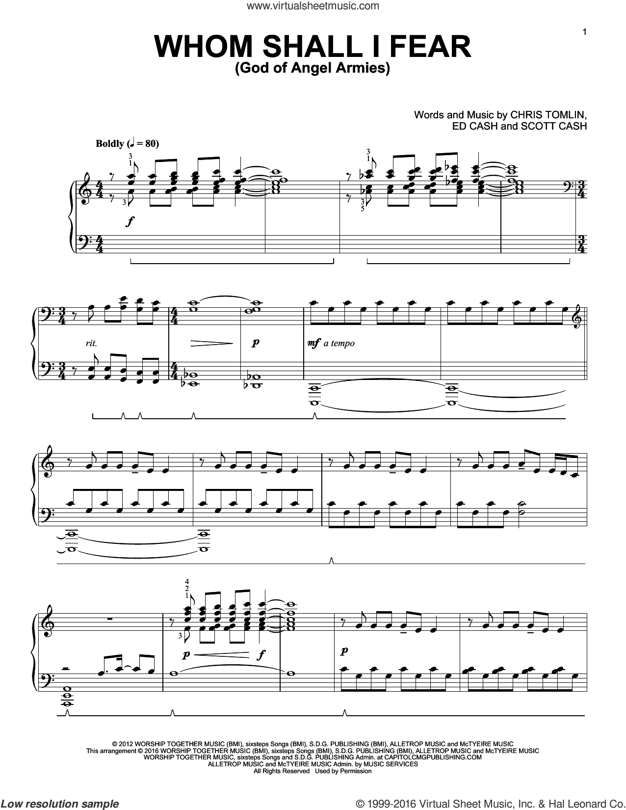 Whom Shall I Fear (God Of Angel Armies), (intermediate) sheet music for piano solo by Chris Tomlin, Phillip Keveren, Ed Cash and Scott Cash, intermediate skill level