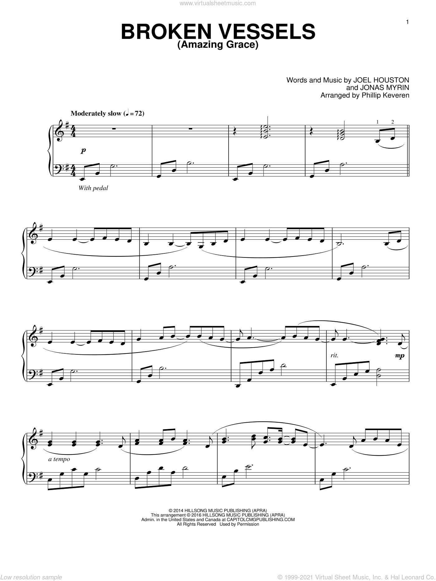 Broken Vessels (Amazing Grace) sheet music for piano solo by Jonas Myrin, Phillip Keveren and Joel Houston, intermediate skill level