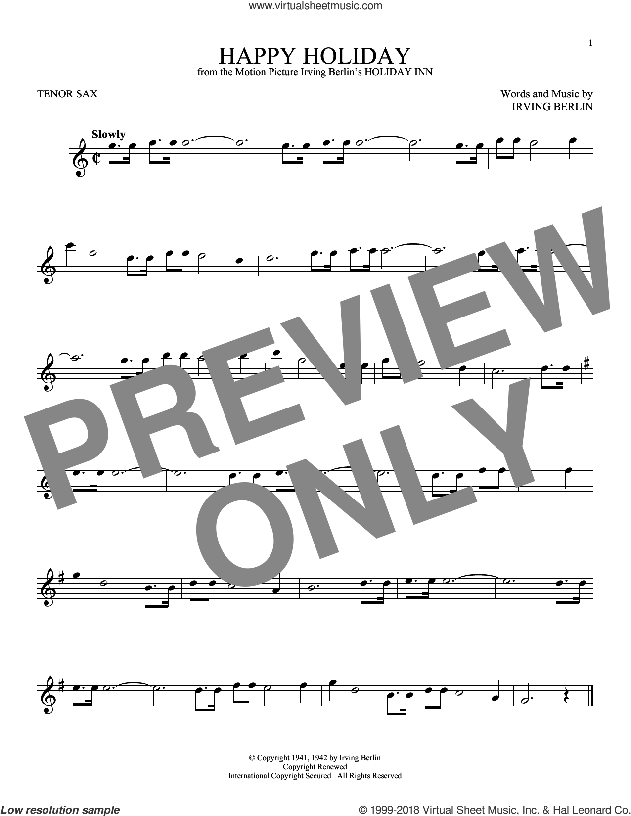 Happy Holiday sheet music for tenor saxophone solo by Irving Berlin, intermediate skill level