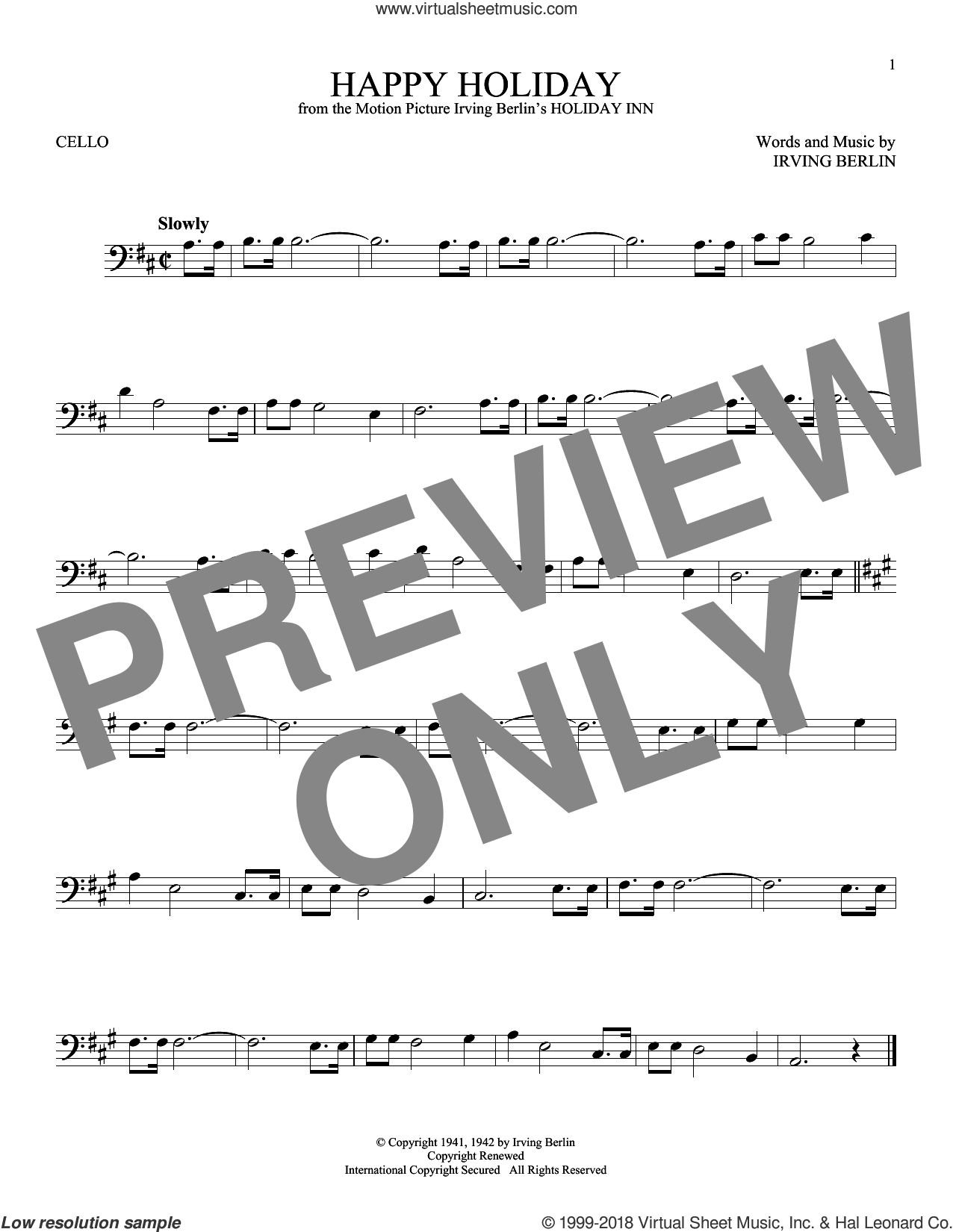 Happy Holiday sheet music for cello solo by Irving Berlin, intermediate skill level