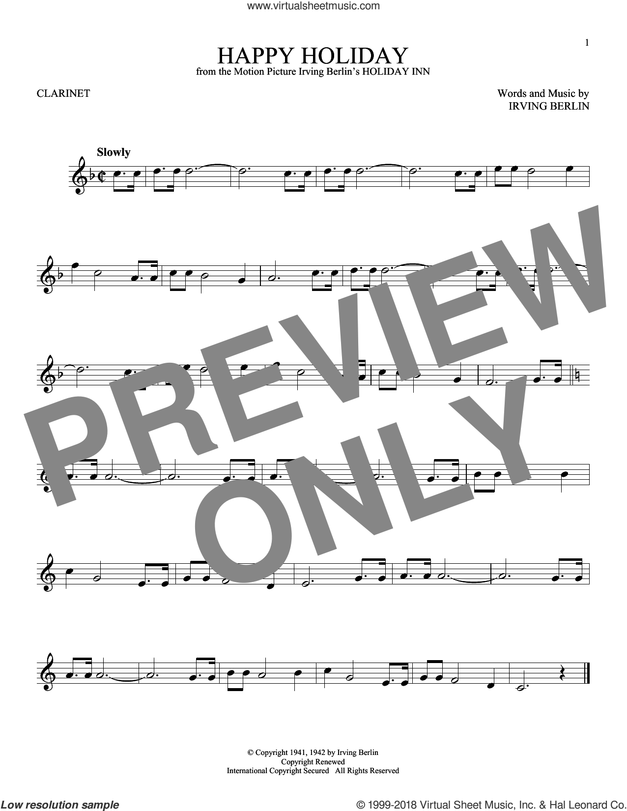 Happy Holiday sheet music for clarinet solo by Irving Berlin, intermediate skill level