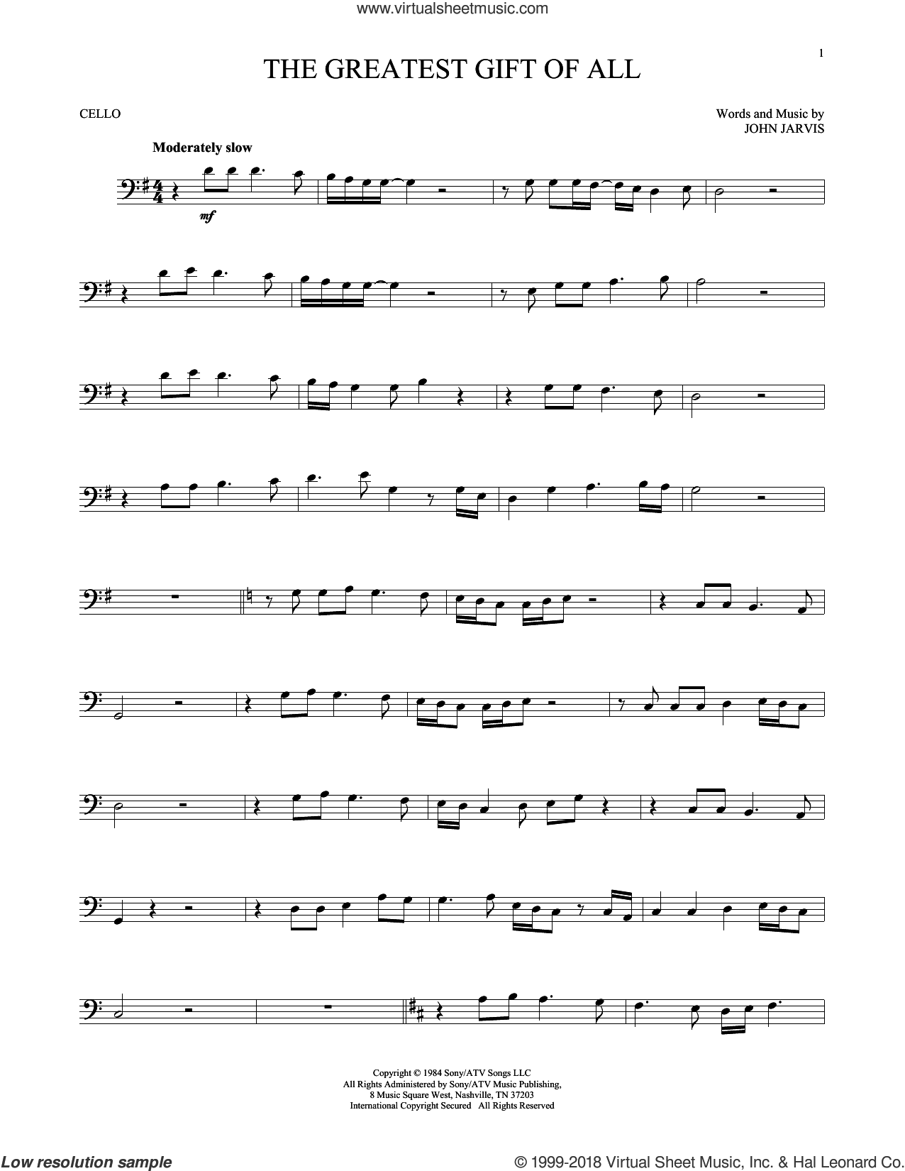 The Greatest Gift Of All sheet music for cello solo by Kenny Rogers and Dolly Parton and John Jarvis, intermediate skill level