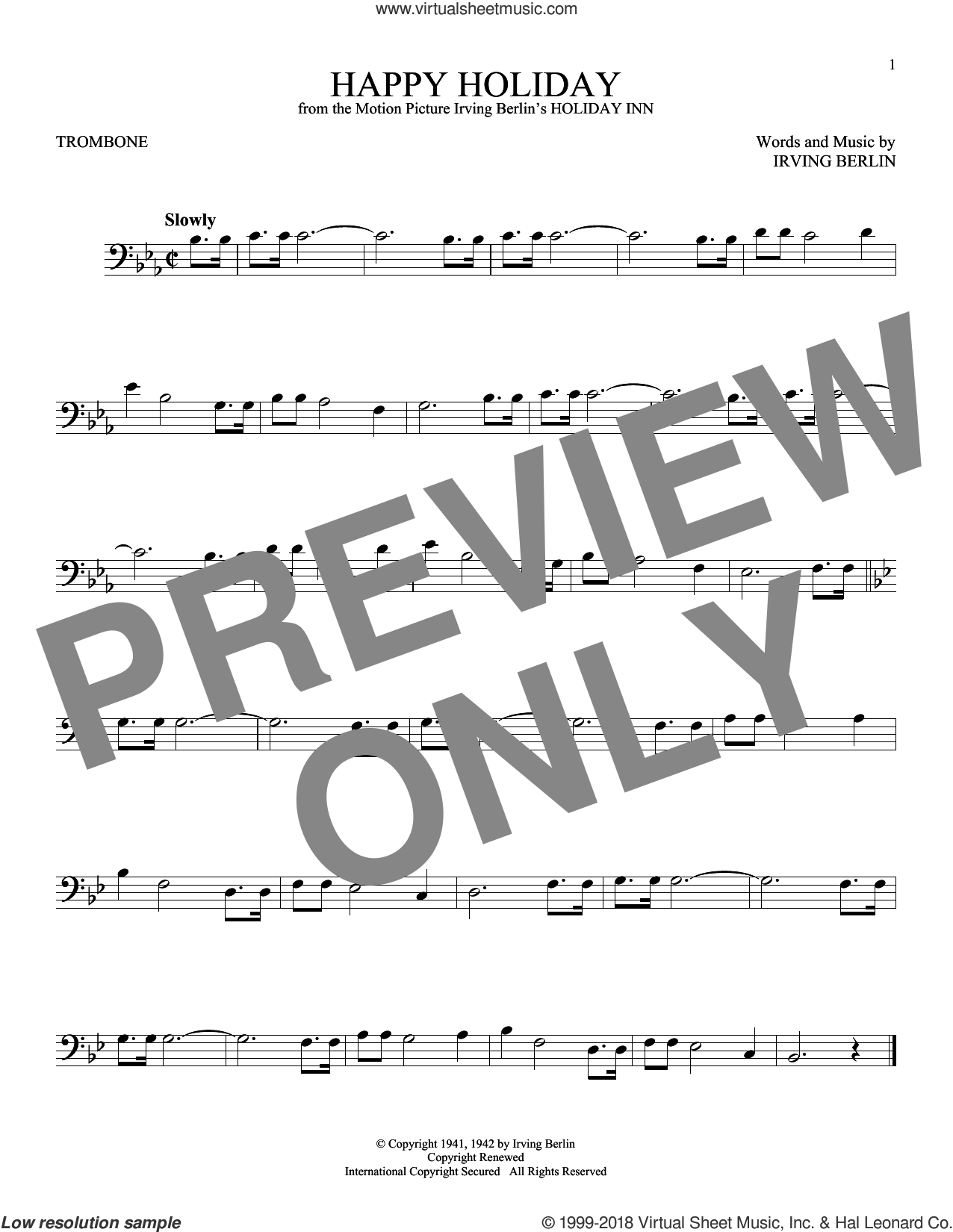 Happy Holiday sheet music for trombone solo by Irving Berlin, intermediate skill level