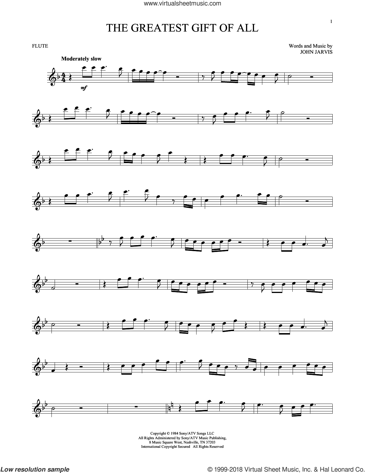 The Greatest Gift Of All sheet music for flute solo by Kenny Rogers and Dolly Parton and John Jarvis, intermediate skill level