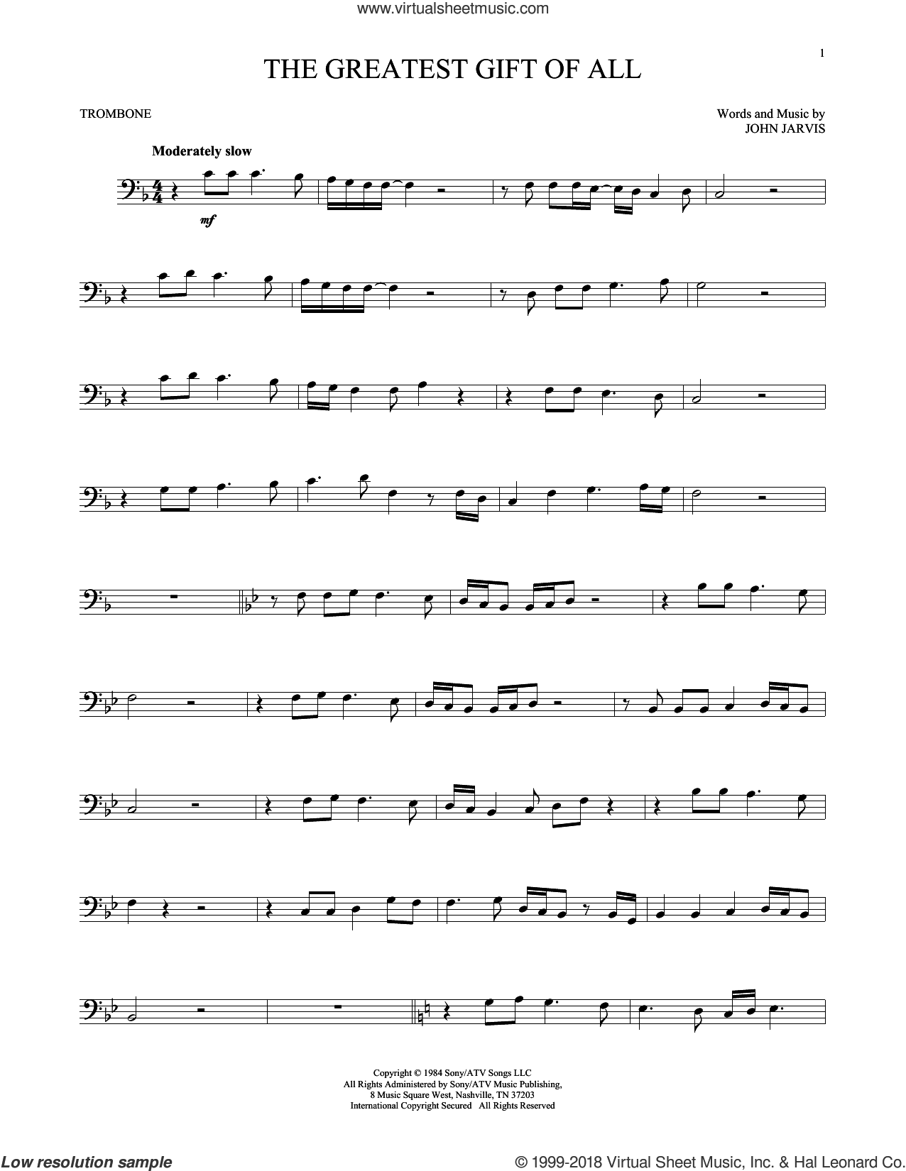 The Greatest Gift Of All sheet music for trombone solo by Kenny Rogers and Dolly Parton and John Jarvis, intermediate skill level