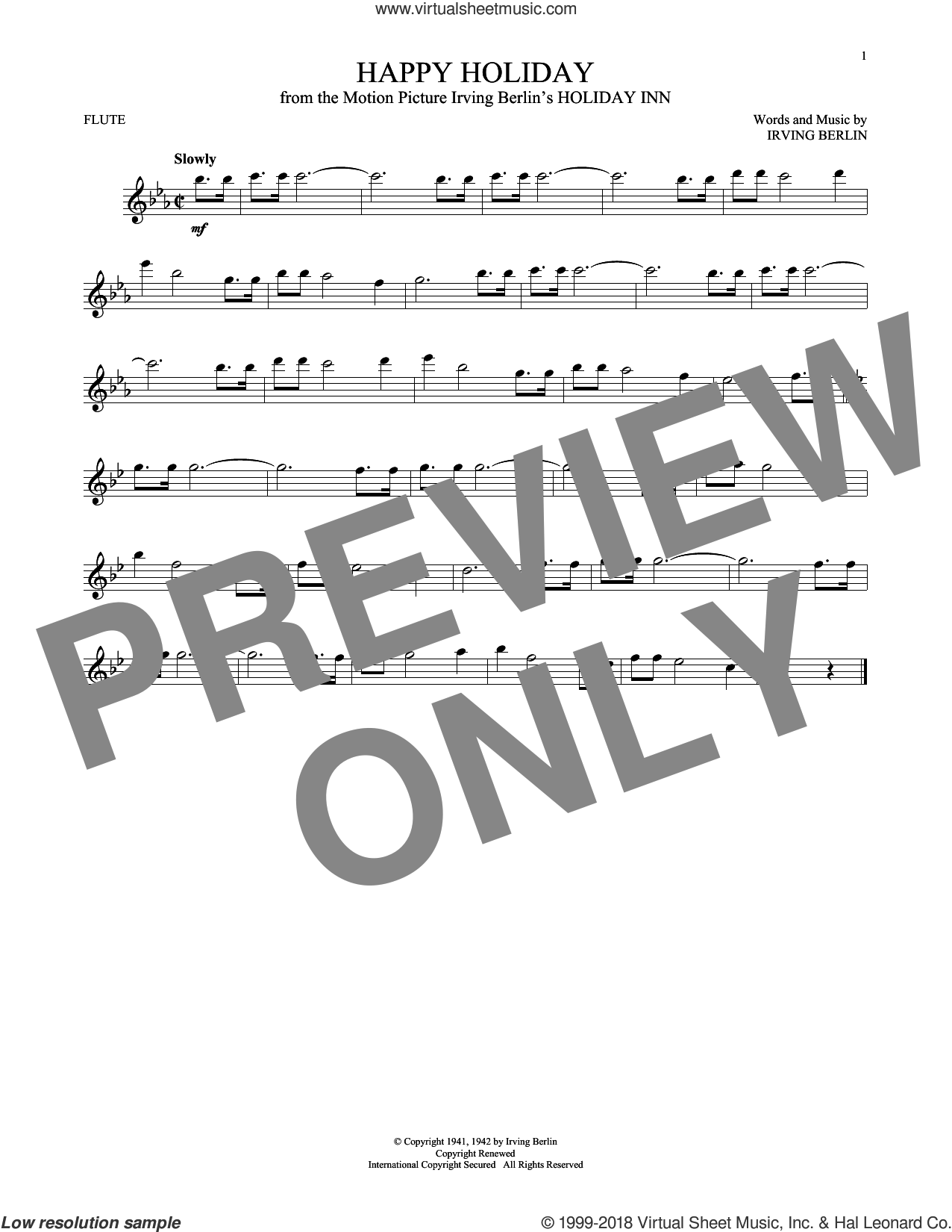 Happy Holiday sheet music for flute solo by Irving Berlin, intermediate skill level