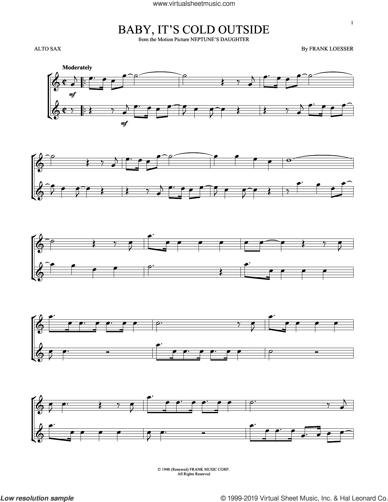 Baby, It's Cold Outside sheet music for alto saxophone solo by Frank Loesser, intermediate skill level