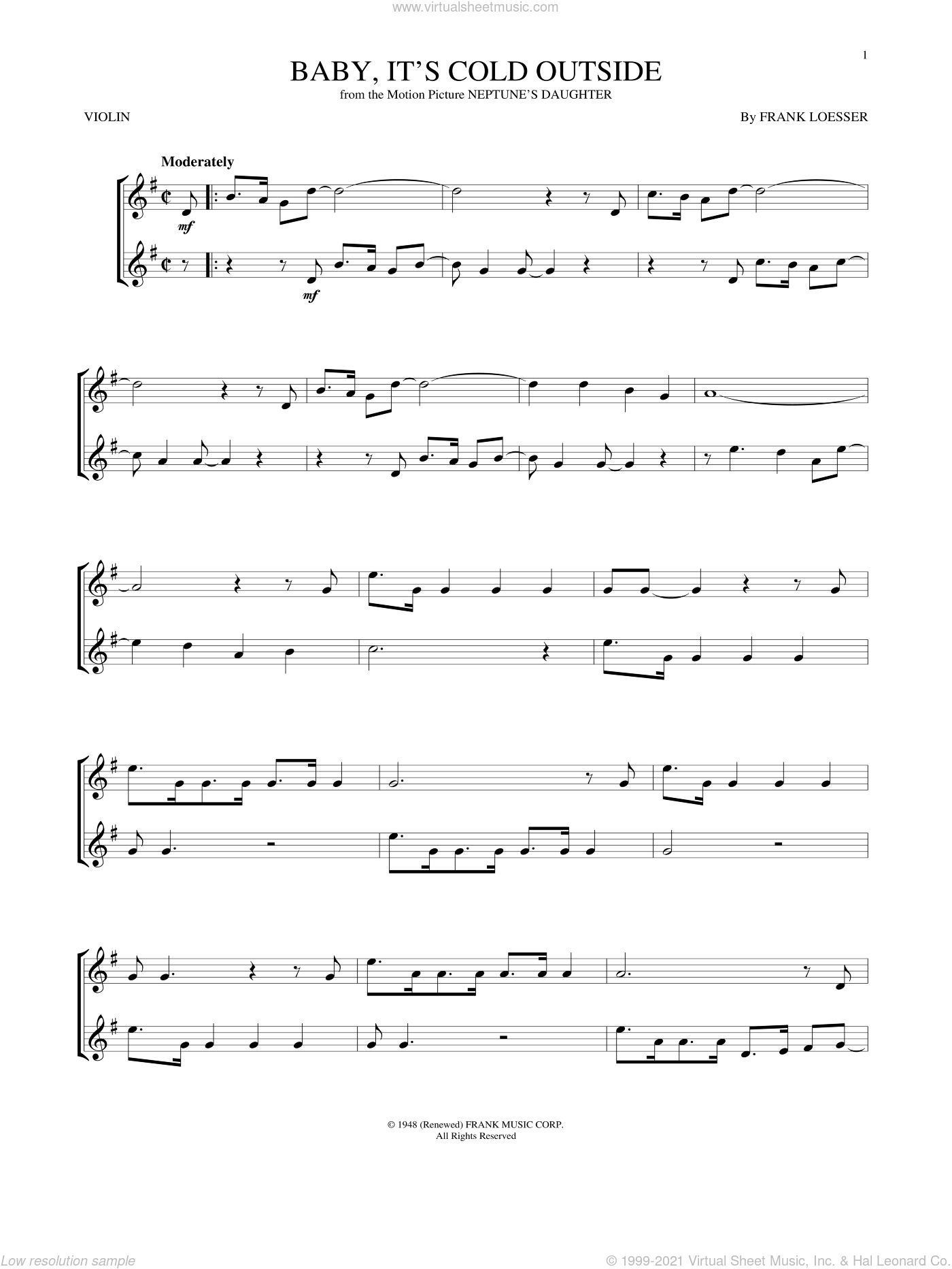 Baby, It's Cold Outside sheet music for violin solo by Frank Loesser, intermediate skill level