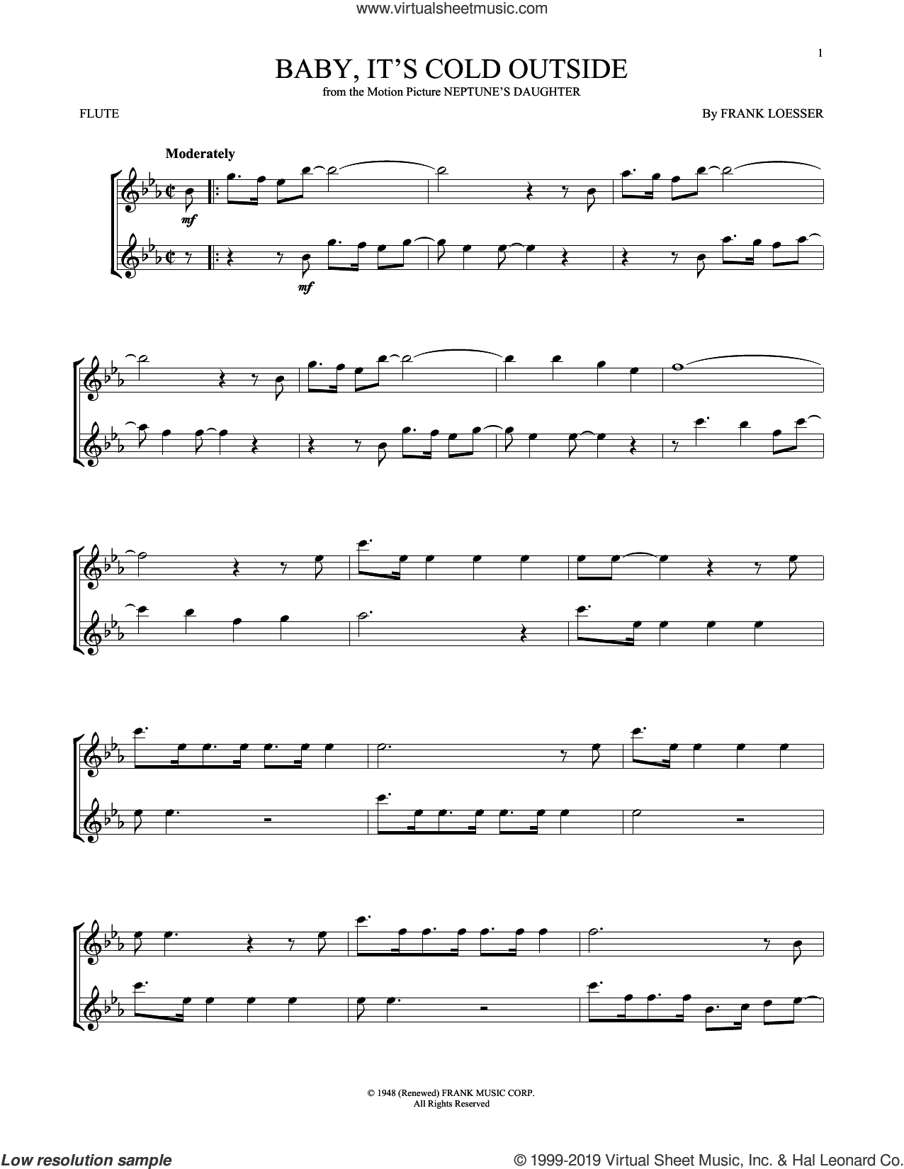 Baby, It's Cold Outside sheet music for flute solo by Frank Loesser, intermediate skill level