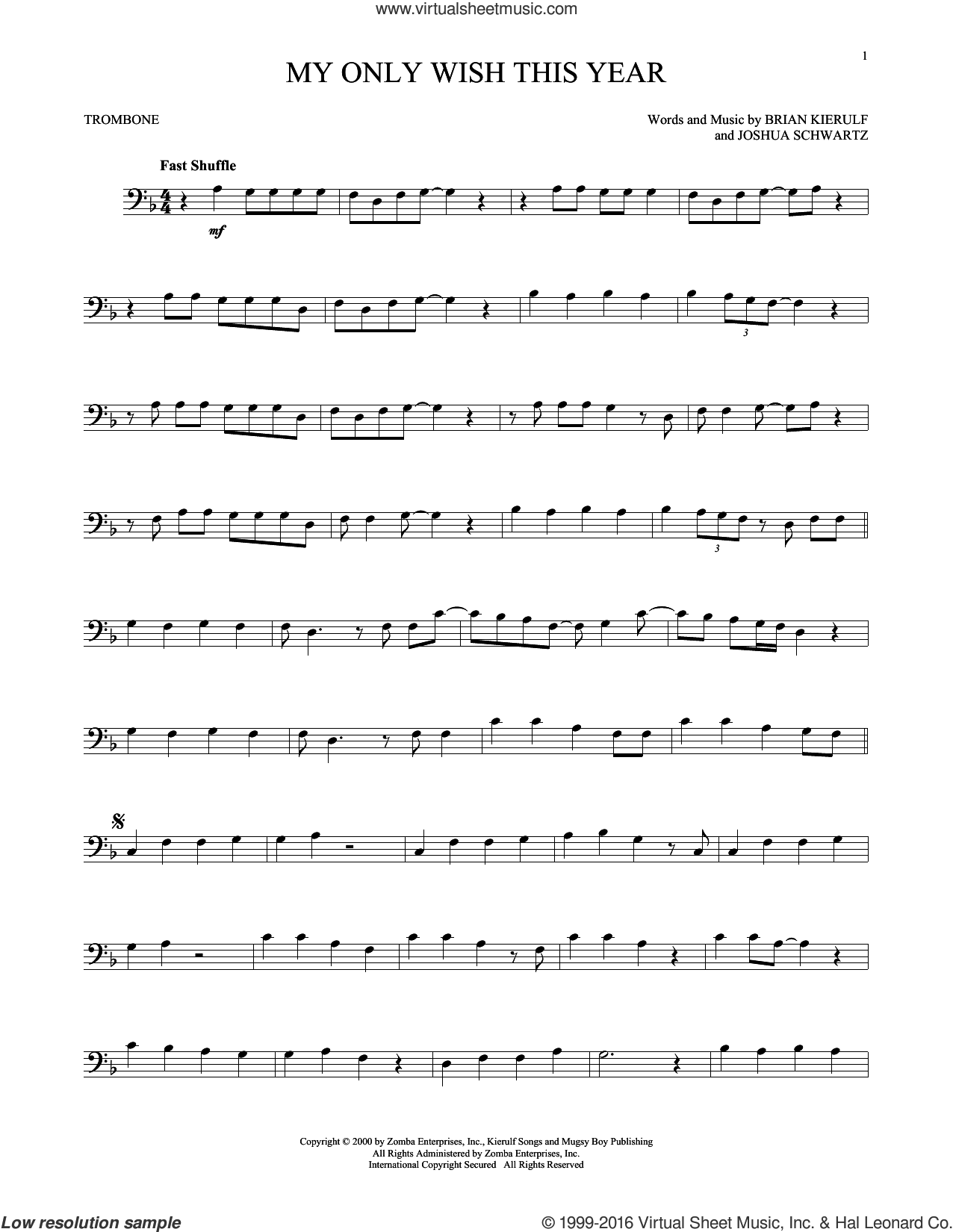 My Only Wish This Year sheet music for trombone solo by Britney Spears, Brian Kierulf and Joshua Schwartz, intermediate skill level