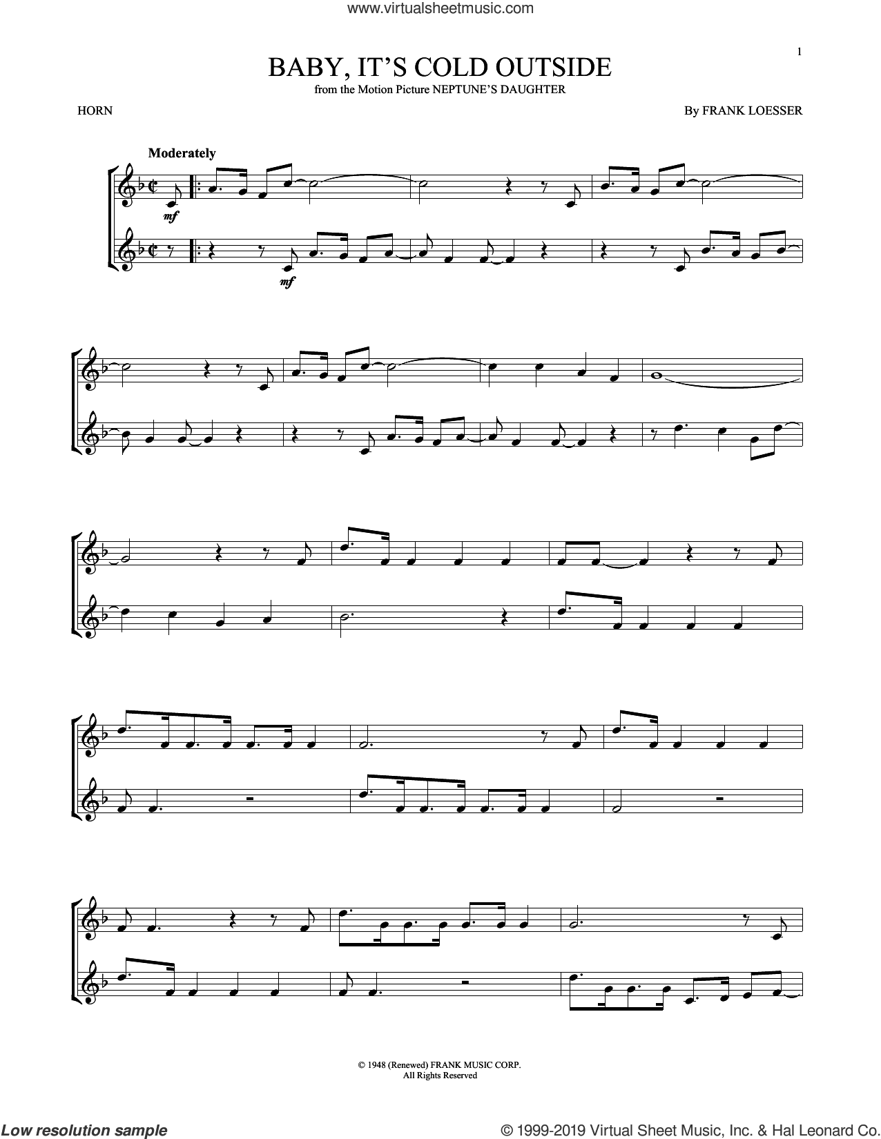 Baby, It's Cold Outside sheet music for horn solo by Frank Loesser, intermediate skill level