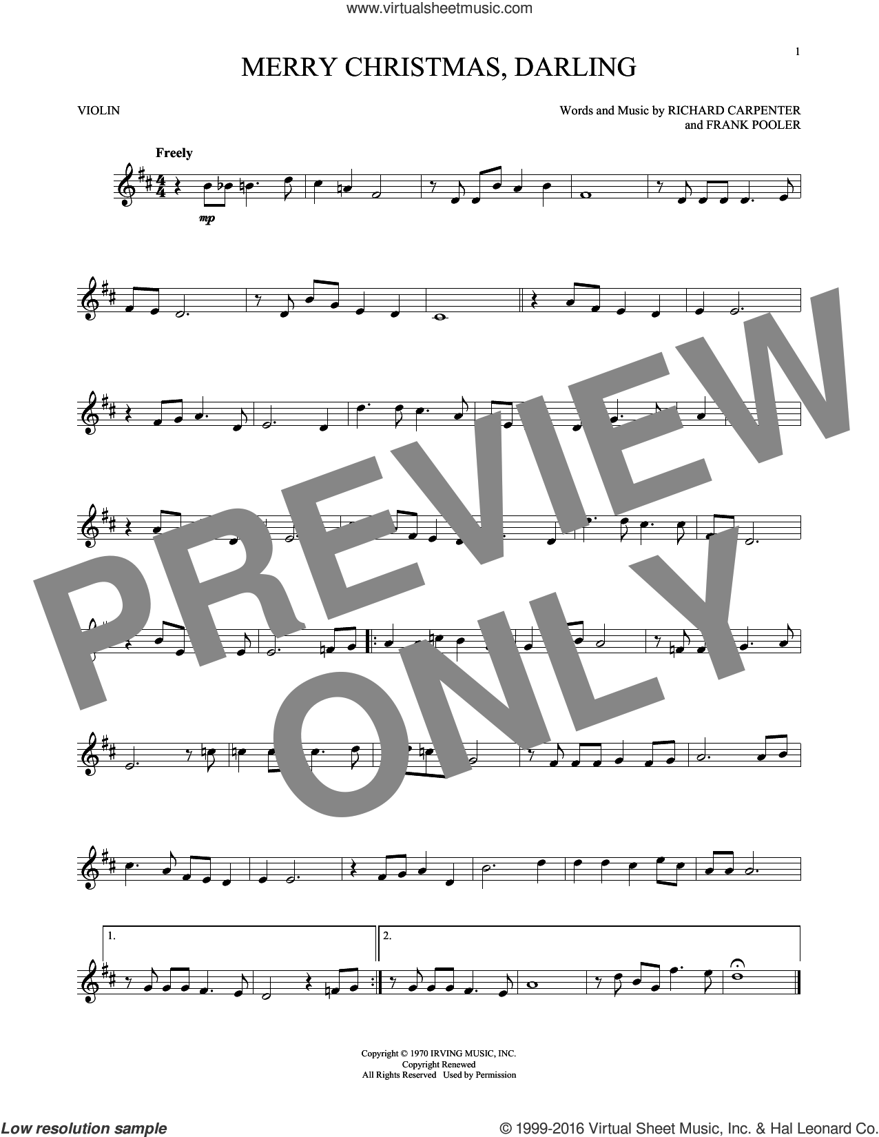 Merry Christmas, Darling sheet music for violin solo by Carpenters, Frank Pooler and Richard Carpenter, intermediate skill level