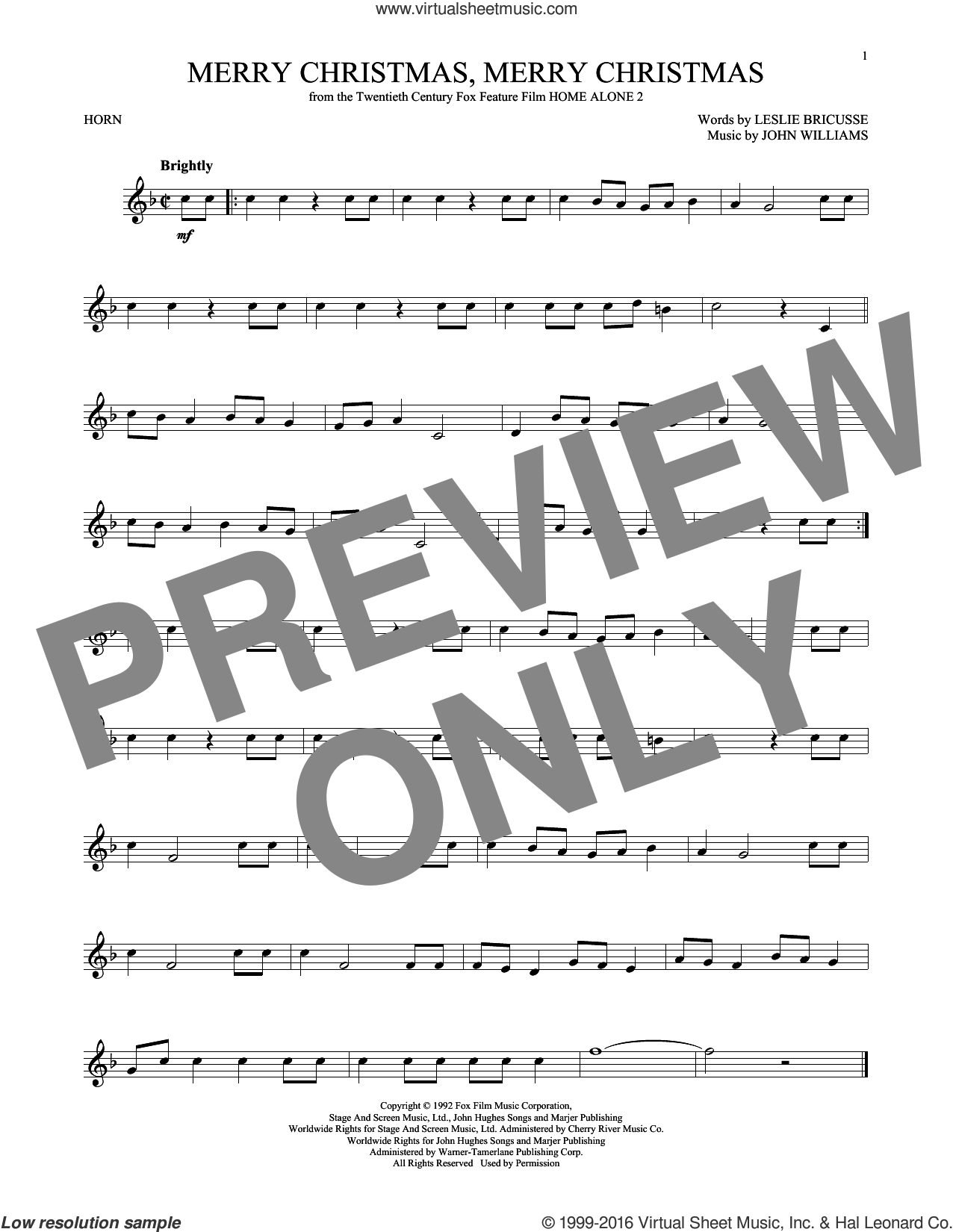 Merry Christmas, Merry Christmas sheet music for horn solo by John Williams and Leslie Bricusse, intermediate skill level