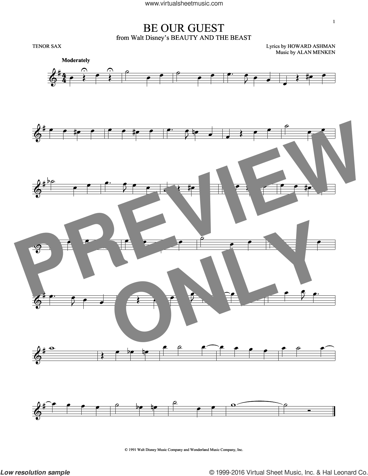 Be Our Guest (from Beauty And The Beast) sheet music for tenor saxophone solo by Alan Menken, Alan Menken & Howard Ashman and Howard Ashman, intermediate skill level