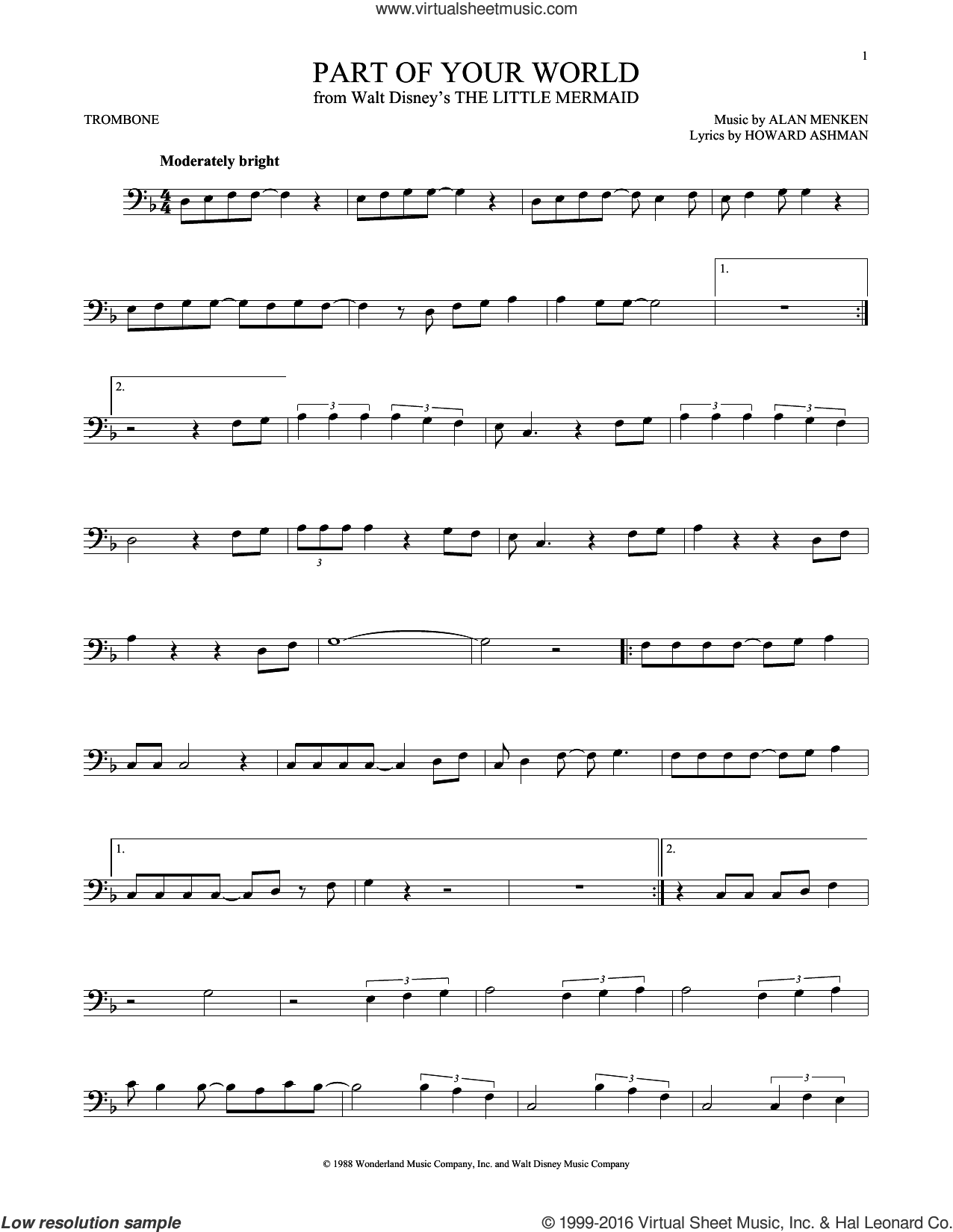 Part Of Your World sheet music for trombone solo by Alan Menken, Alan Menken & Howard Ashman and Howard Ashman, intermediate skill level