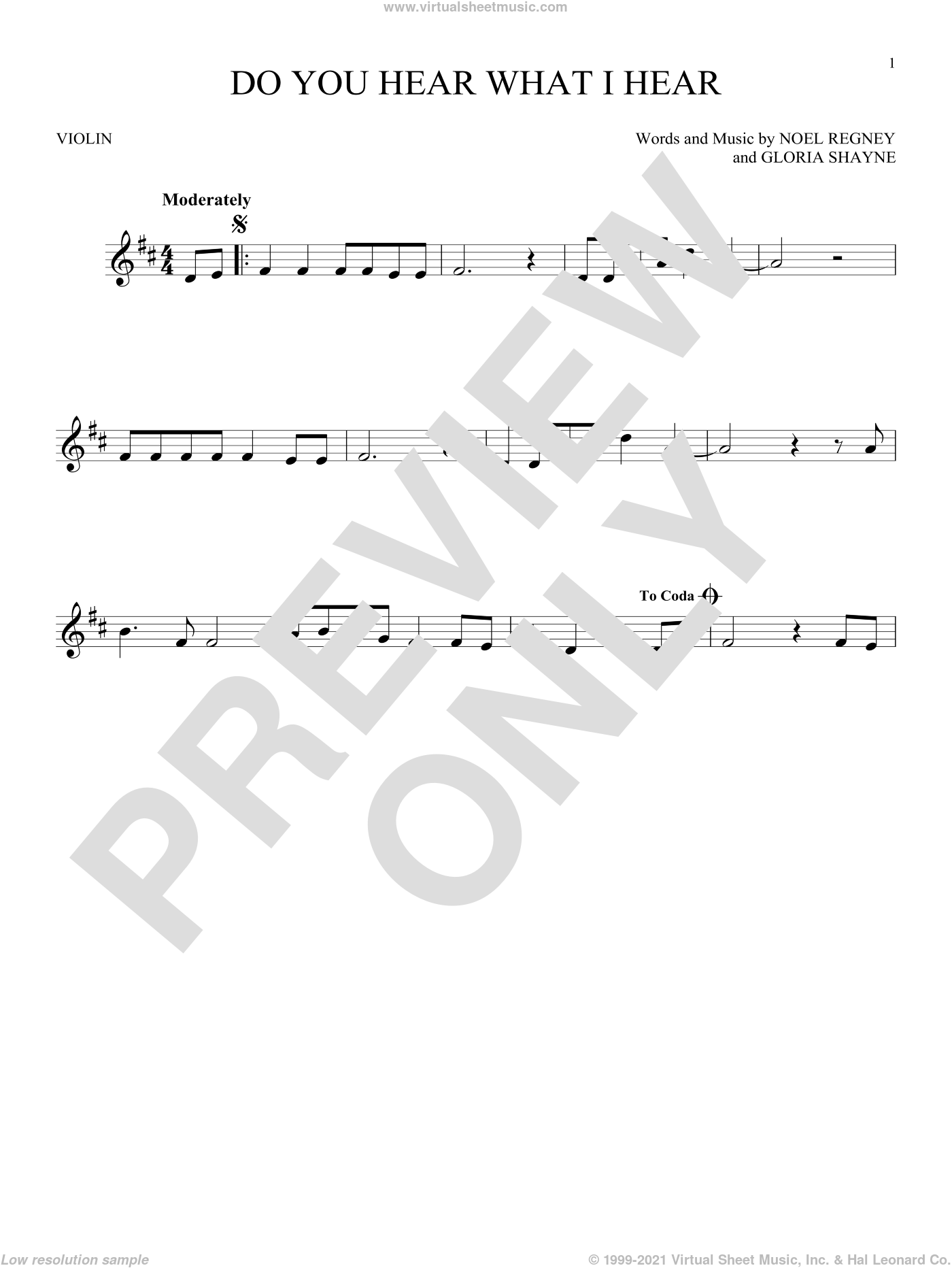 Do You Hear What I Hear sheet music for violin solo by Gloria Shayne, Carole King, Carrie Underwood, Susan Boyle feat. Amber Stassi, Noel Regney and Noel Regney & Gloria Shayne, intermediate skill level
