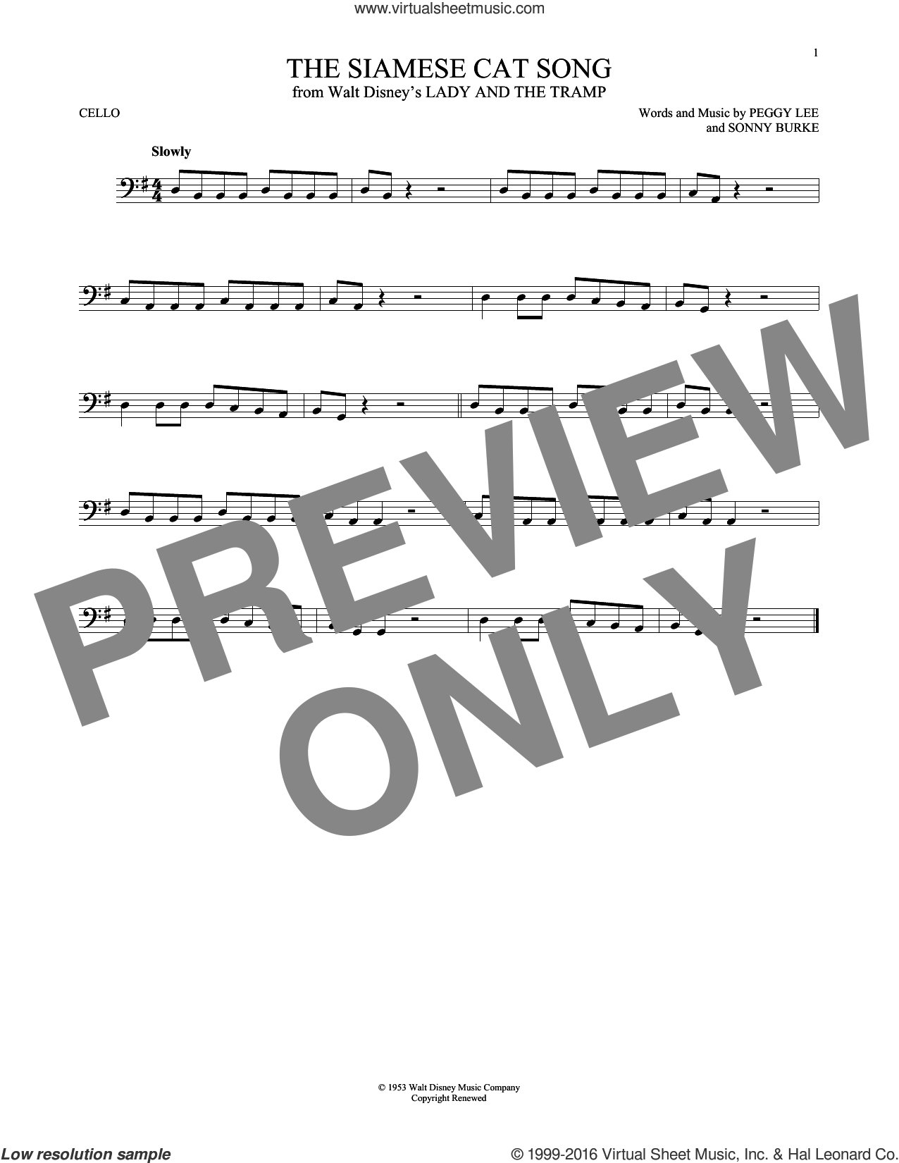 The Siamese Cat Song sheet music for cello solo by Peggy Lee and Sonny Burke, intermediate cello. Score Image Preview.