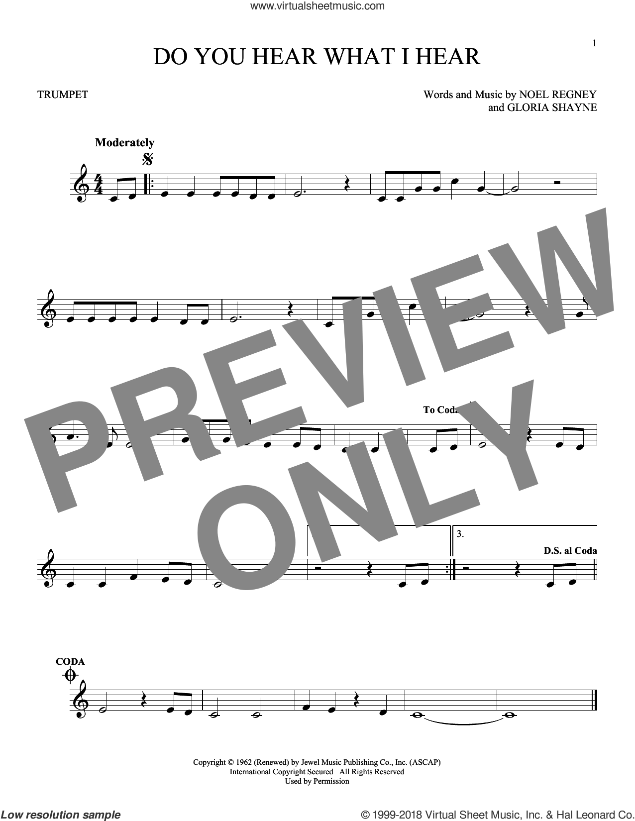 Do You Hear What I Hear sheet music for trumpet solo by Gloria Shayne, Carole King, Carrie Underwood, Susan Boyle feat. Amber Stassi, Noel Regney and Noel Regney & Gloria Shayne, intermediate skill level