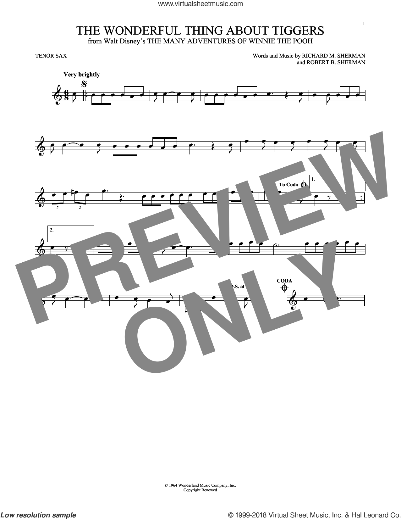 The Wonderful Thing About Tiggers sheet music for tenor saxophone solo by Richard M. Sherman, Richard & Robert Sherman and Robert B. Sherman, intermediate skill level