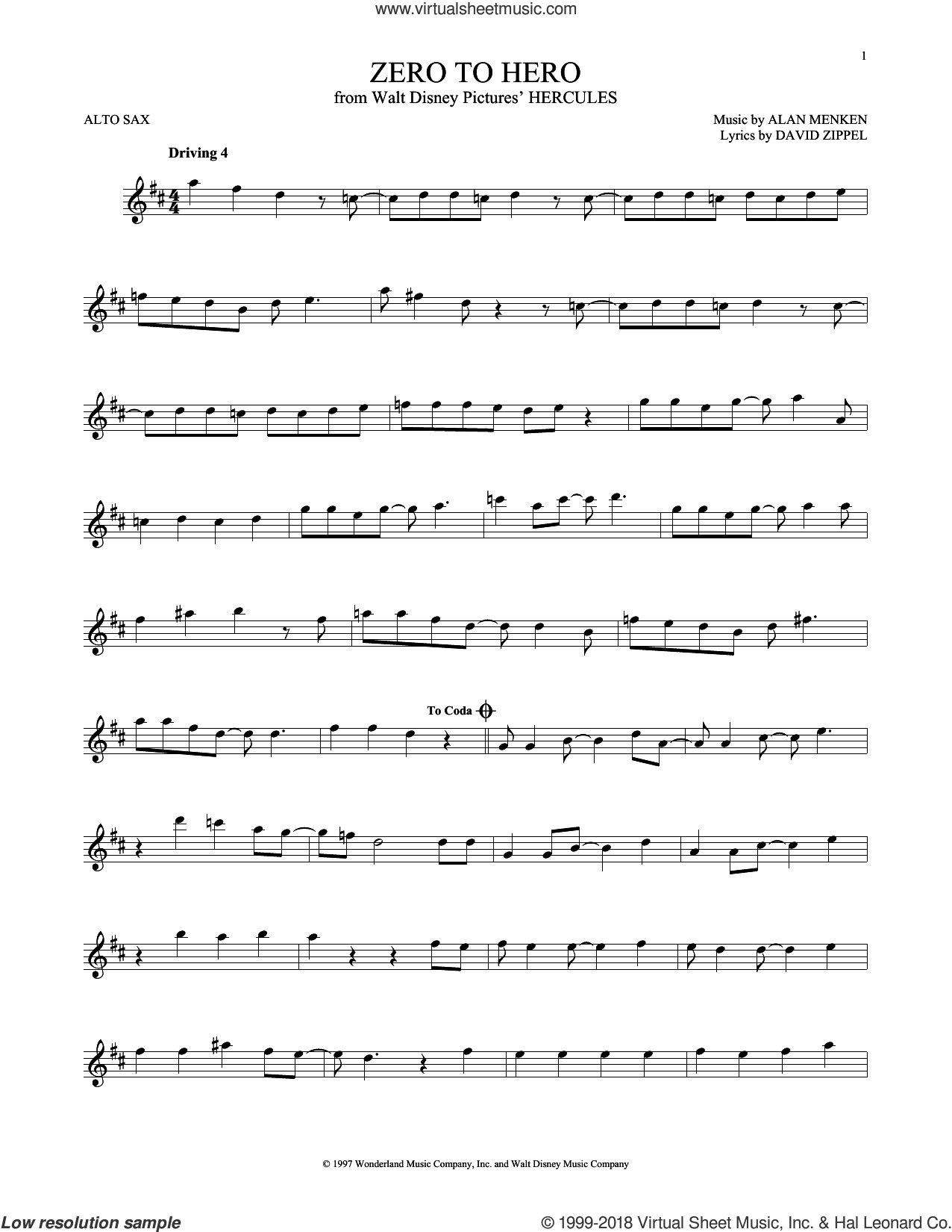 Zero To Hero sheet music for alto saxophone solo by Alan Menken, Alan Menken & David Zippel and David Zippel, intermediate skill level