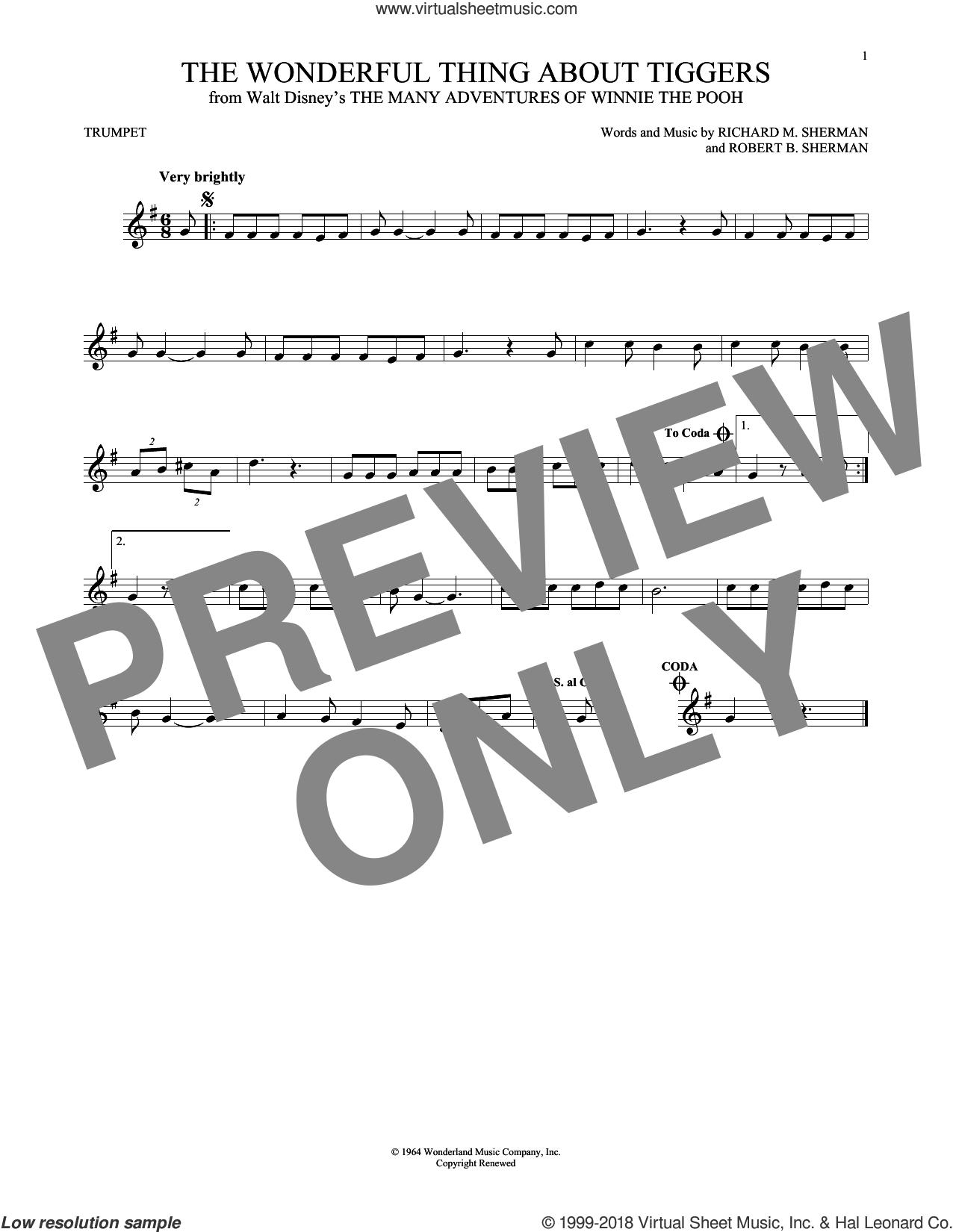 The Wonderful Thing About Tiggers sheet music for trumpet solo by Richard M. Sherman, Richard & Robert Sherman and Robert B. Sherman, intermediate skill level