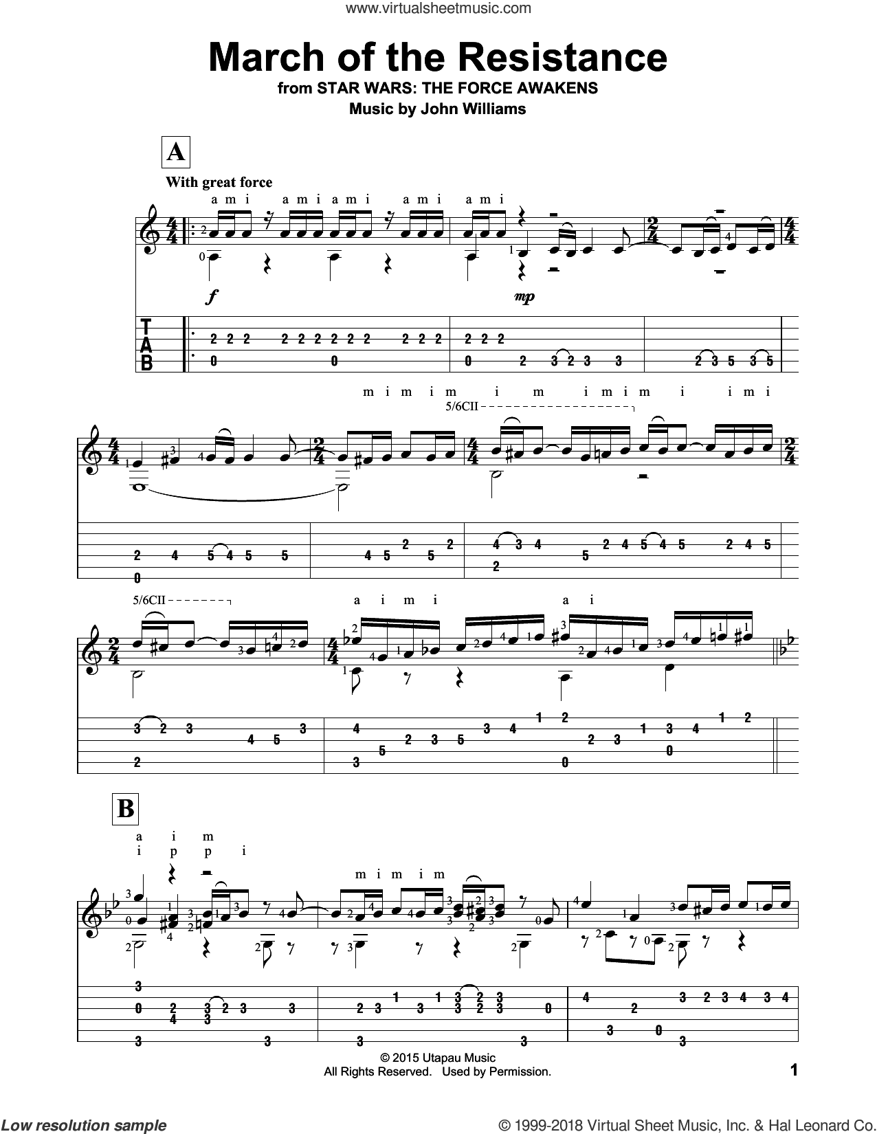 March Of The Resistance sheet music for guitar solo by John Williams, intermediate guitar. Score Image Preview.