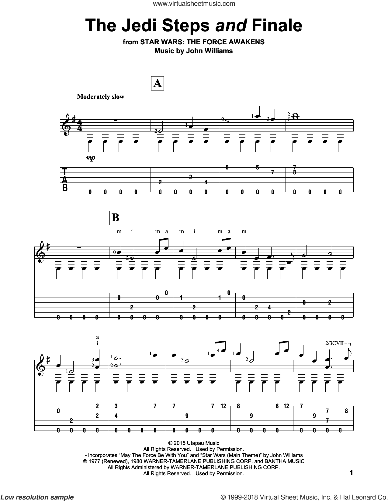 The Jedi Steps And Finale sheet music for guitar solo by John Williams, intermediate. Score Image Preview.