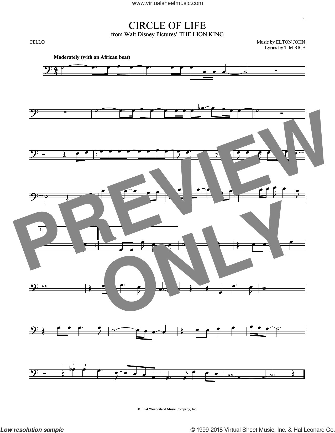 Circle Of Life sheet music for cello solo by Elton John and Tim Rice, intermediate. Score Image Preview.