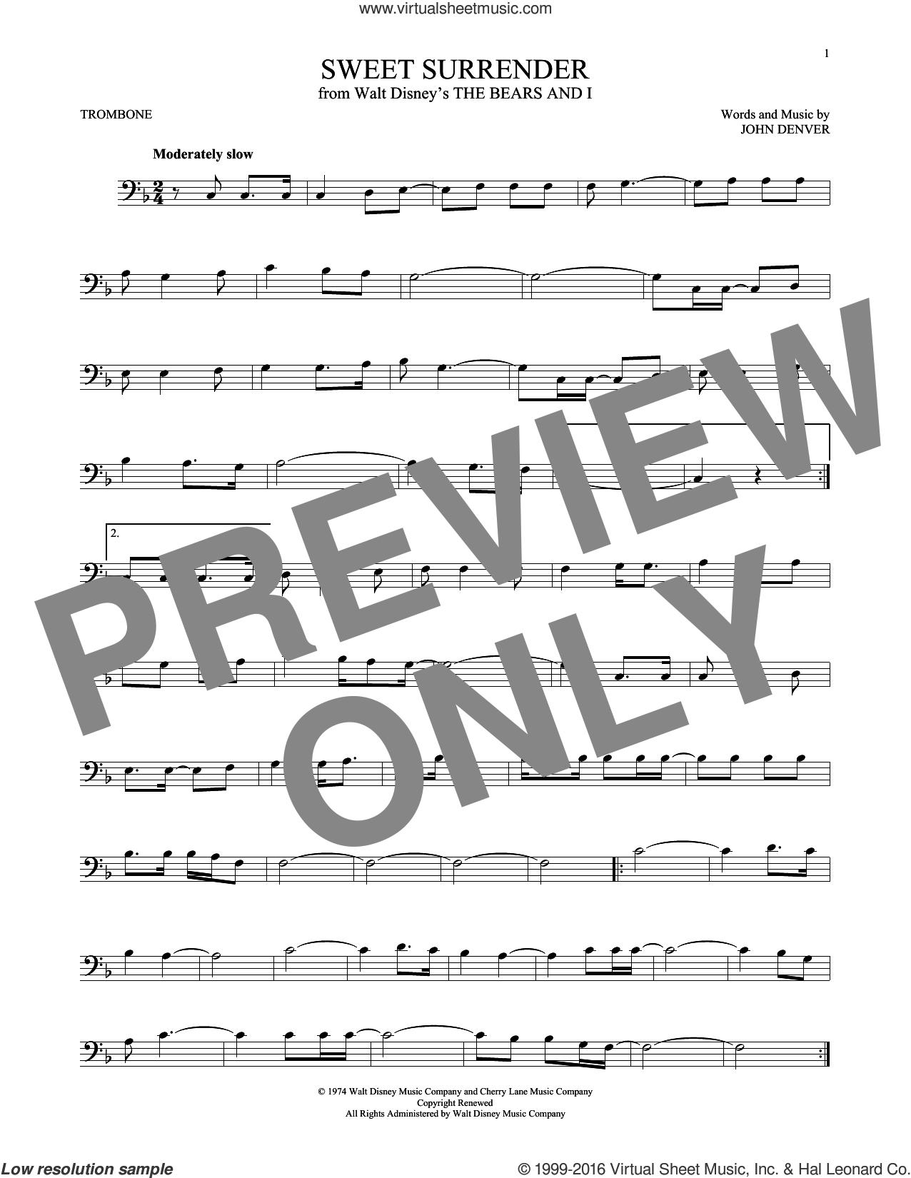 Sweet Surrender sheet music for trombone solo by John Denver, intermediate skill level