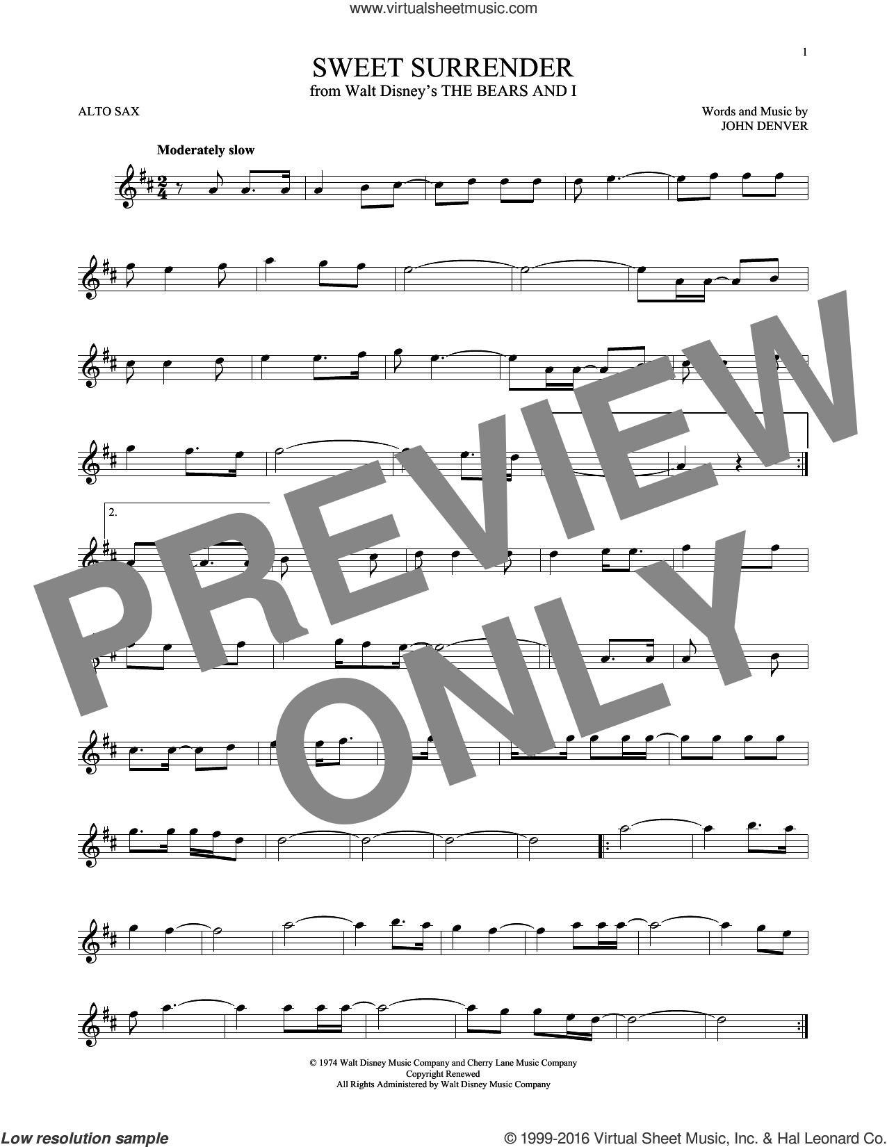 Sweet Surrender sheet music for alto saxophone solo by John Denver, intermediate alto saxophone. Score Image Preview.