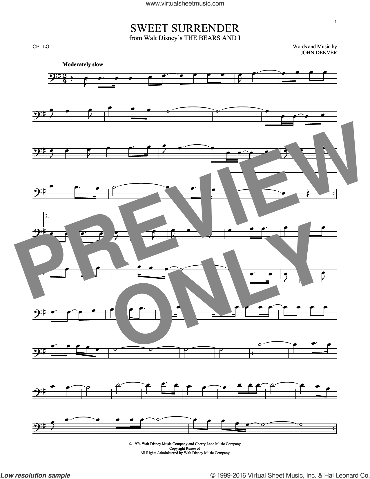 Sweet Surrender sheet music for cello solo by John Denver, intermediate skill level