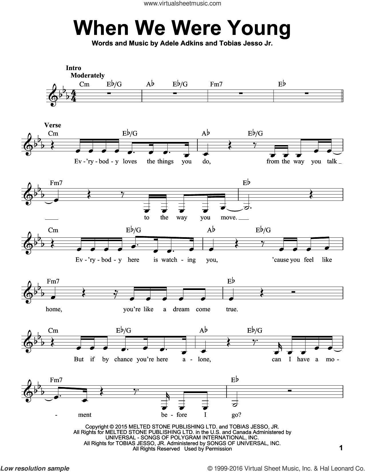 When We Were Young sheet music for voice solo by Adele, Adele Adkins and Tobias Jesso Jr., intermediate skill level