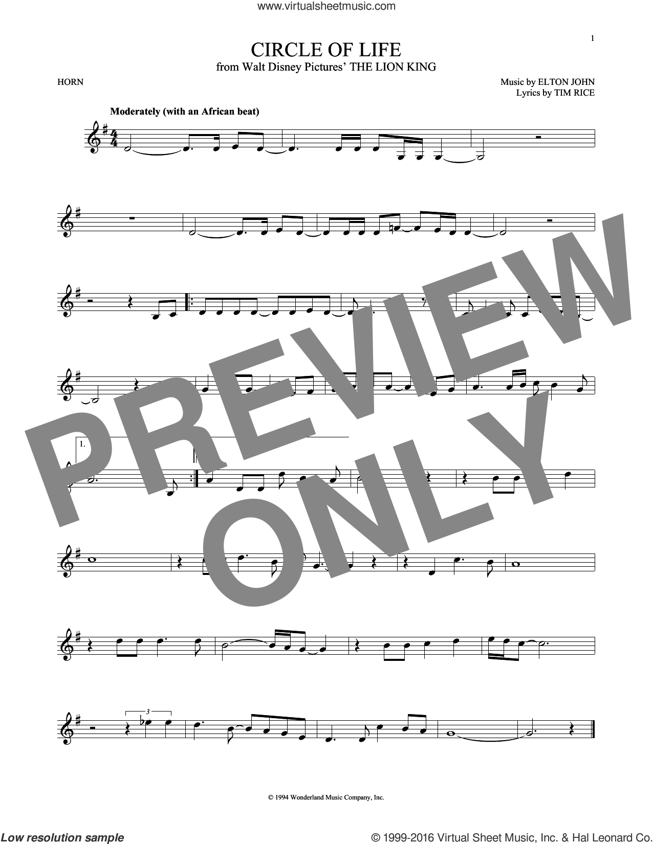 Circle Of Life sheet music for horn solo by Tim Rice and Elton John. Score Image Preview.