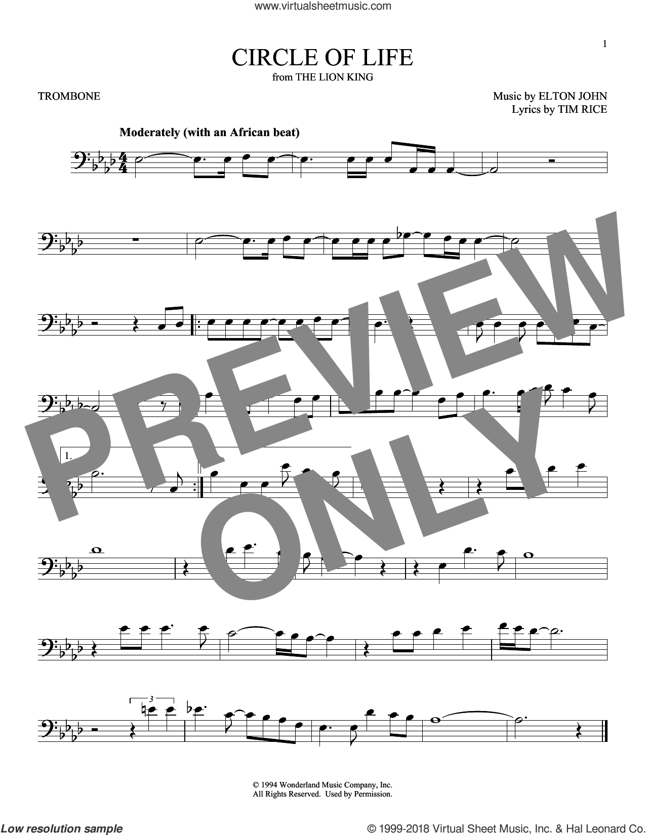 Circle Of Life sheet music for trombone solo by Elton John and Tim Rice, intermediate