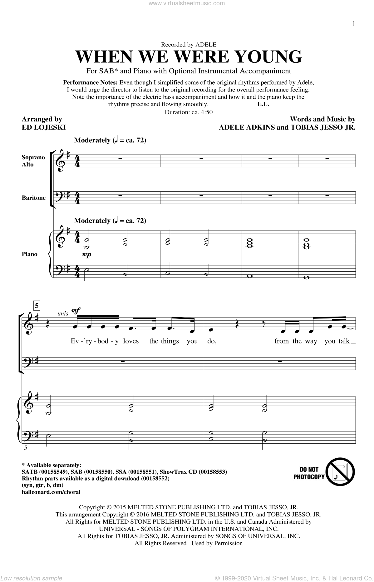 When We Were Young (arr. Ed Lojeski) sheet music for choir (SAB: soprano, alto, bass) by Ed Lojeski, Adele, Adele Adkins and Tobias Jesso Jr., intermediate skill level