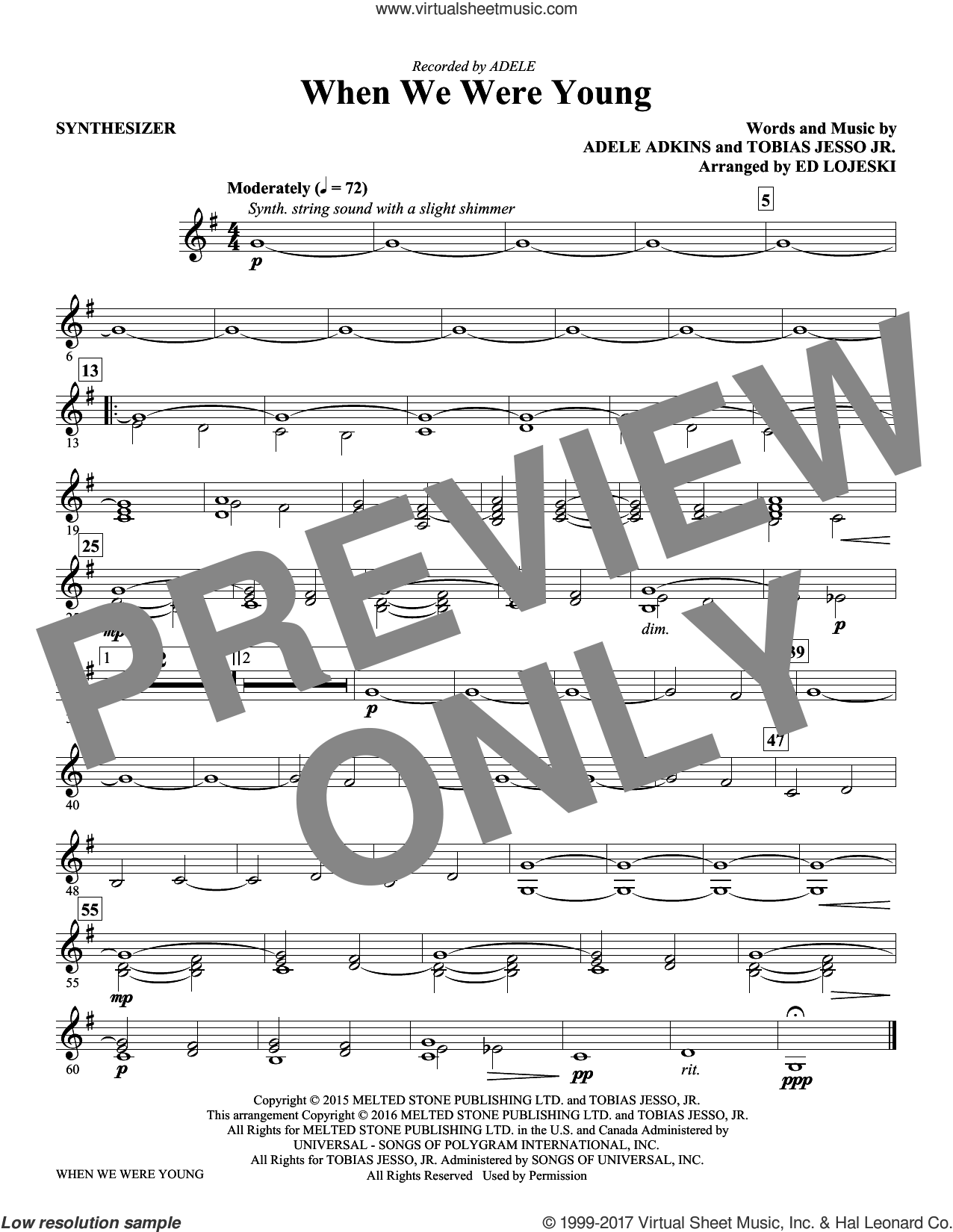 When We Were Young (complete set of parts) sheet music for orchestra/band by Adele, Adele Adkins, Ed Lojeski and Tobias Jesso Jr., intermediate skill level