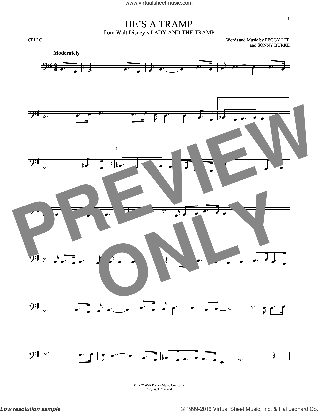 He's A Tramp (from Lady And The Tramp) sheet music for cello solo by Peggy Lee, Peggy Lee & Sonny Burke and Sonny Burke, intermediate skill level