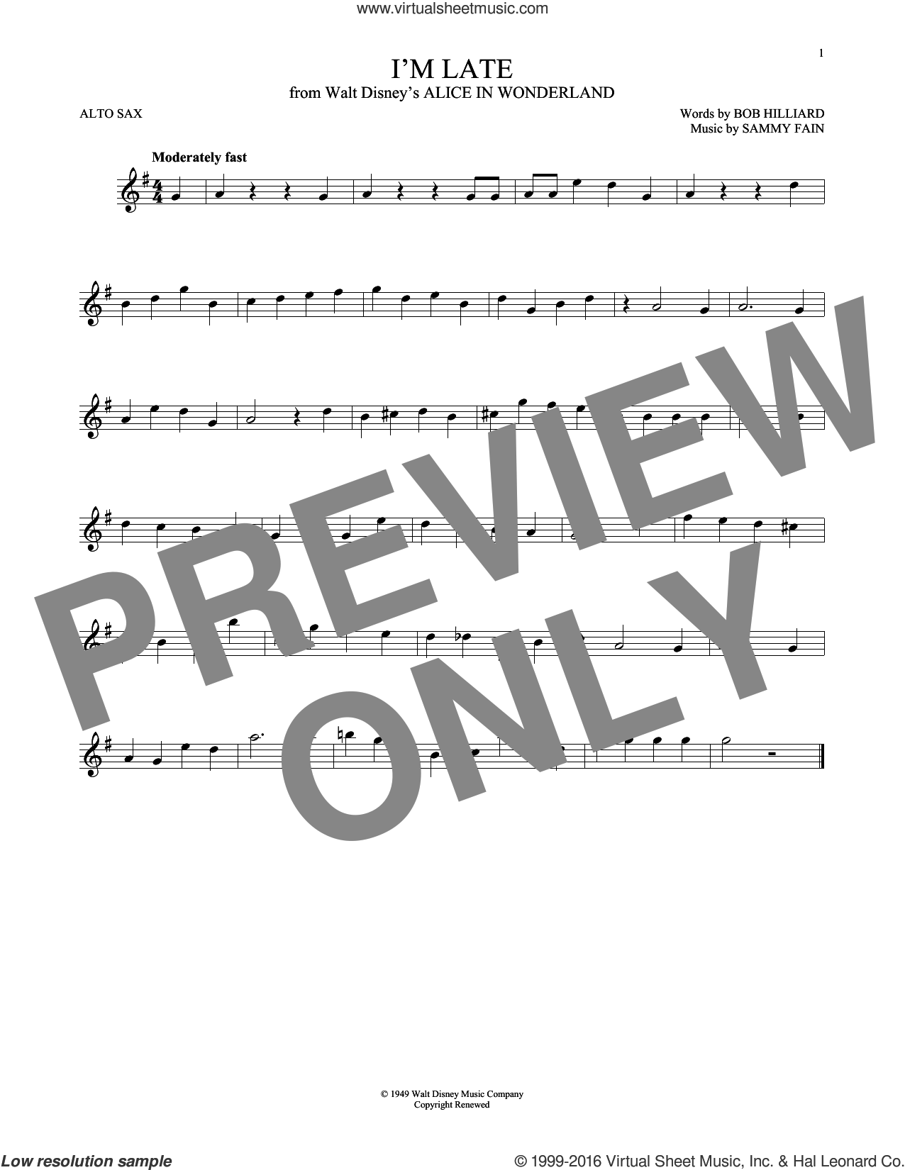 I'm Late sheet music for alto saxophone solo by Sammy Fain and Bob Hilliard, intermediate. Score Image Preview.