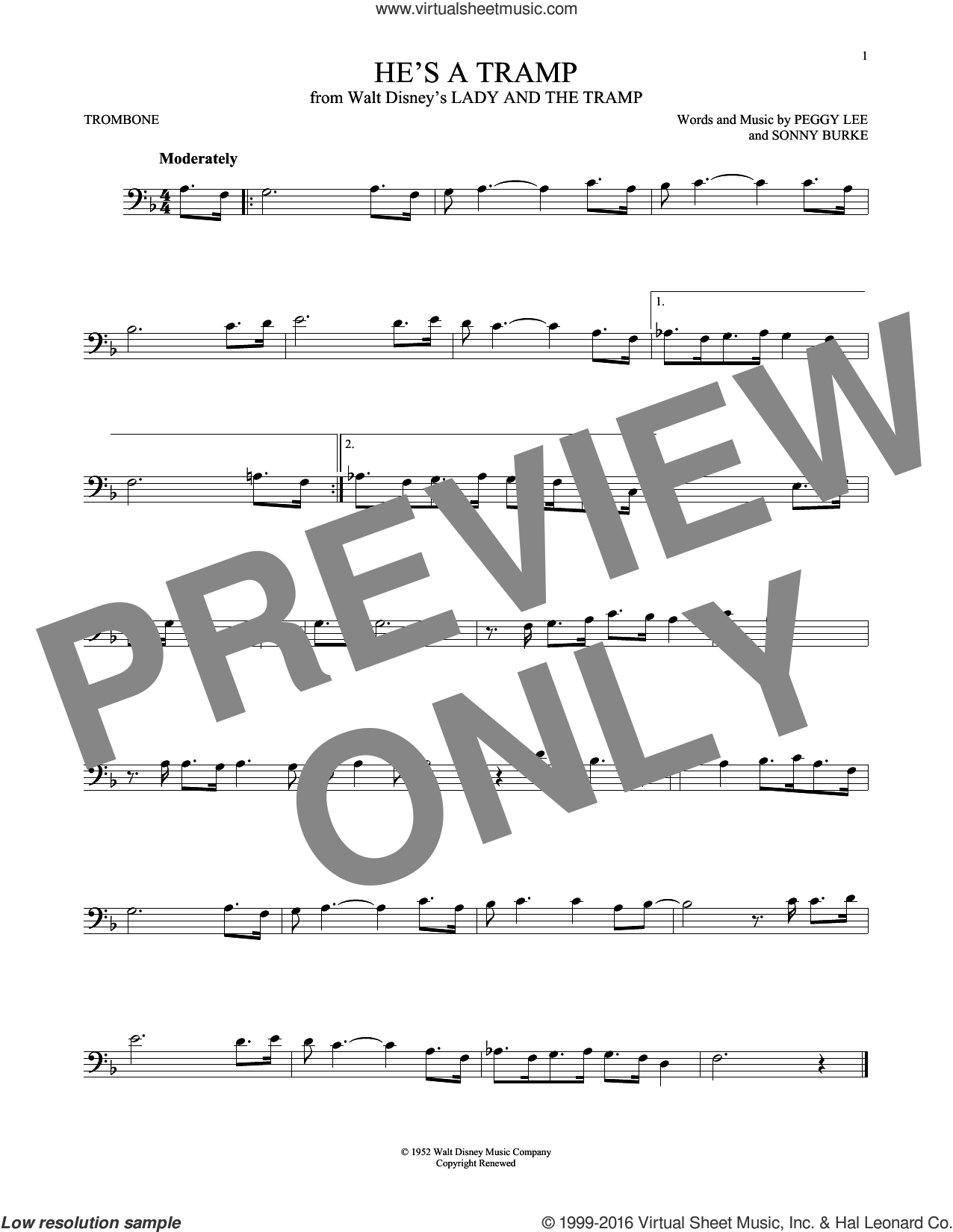 He's A Tramp sheet music for trombone solo by Peggy Lee and Sonny Burke, intermediate. Score Image Preview.
