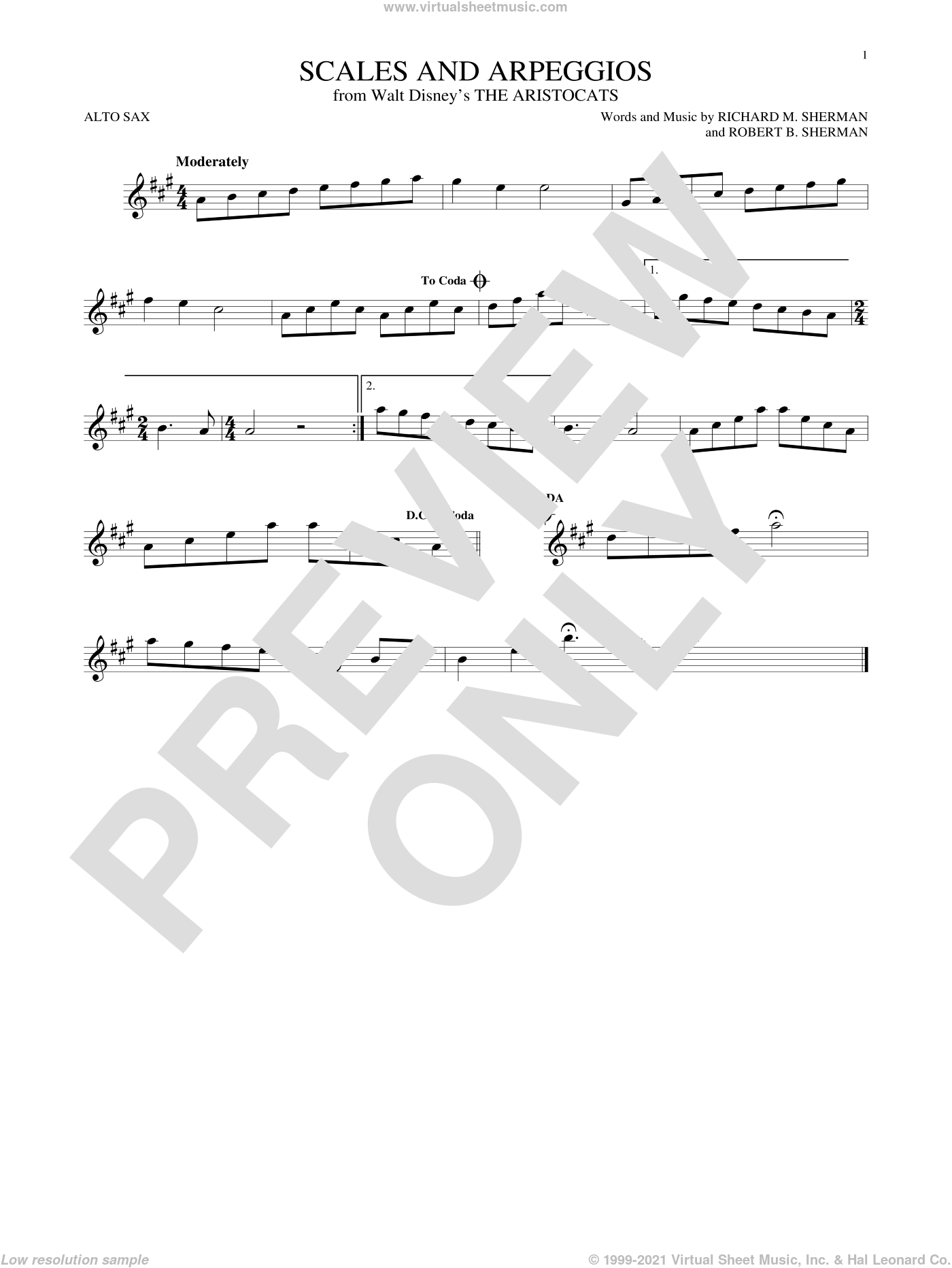 Scales And Arpeggios sheet music for alto saxophone solo by Robert B. Sherman and Richard M. Sherman. Score Image Preview.